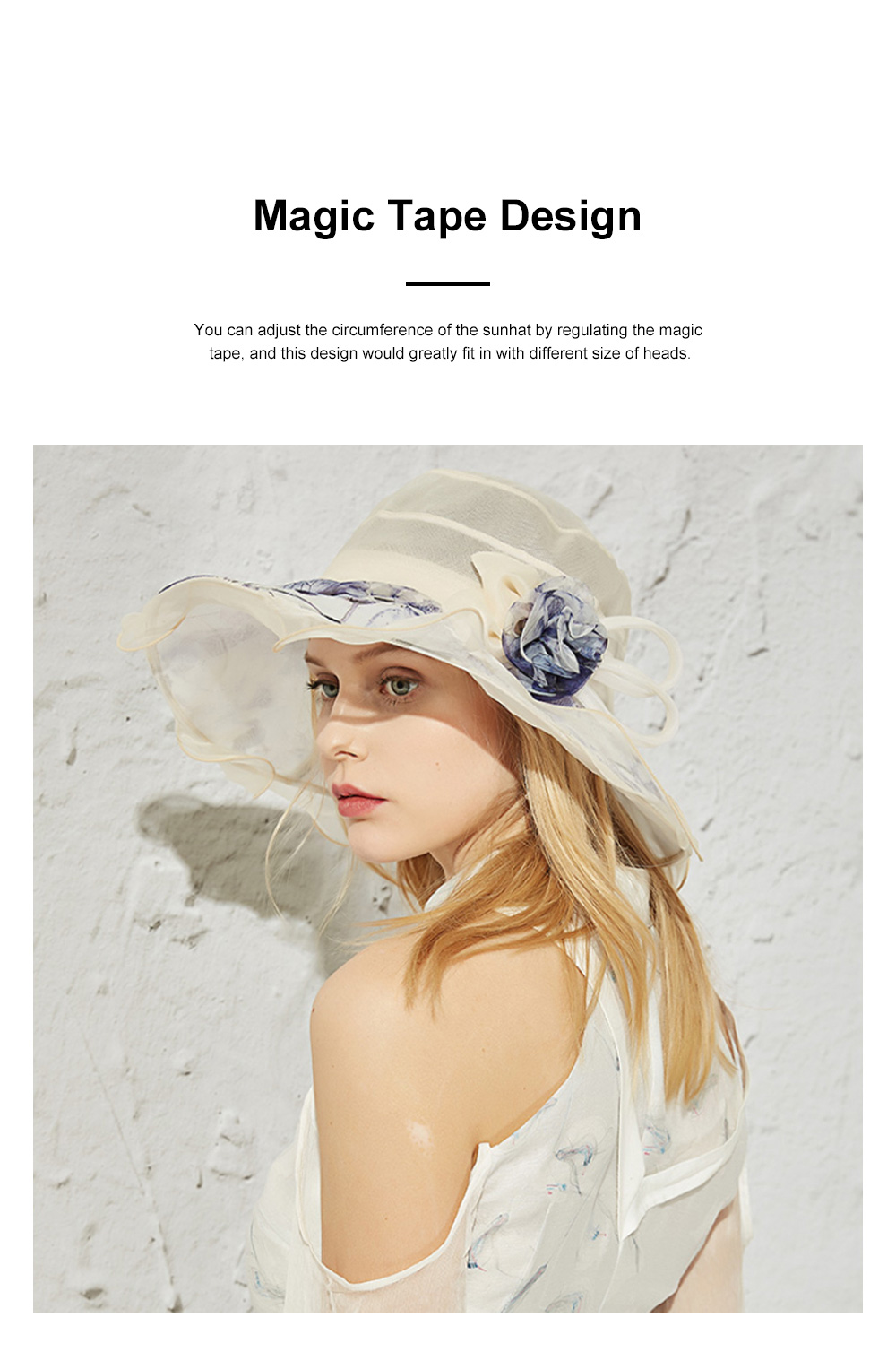 Minimalist Stylish Atmosphere Stereo Flower Model Decorative Foldable Lady Sun Bonnet Hat with Large Brim Wind Rope 1