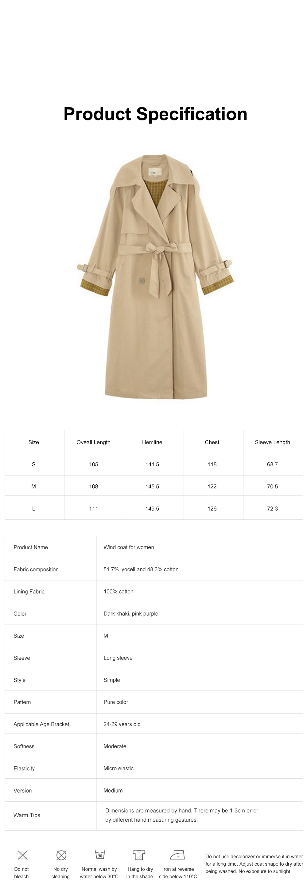 Color Contrast Plaid Cuff Wind Coat New Style Flip Collar Dust Coat for Women Wear Loose Version Mixed Fabric Windbreaker Long Pattern Trench Coat  7