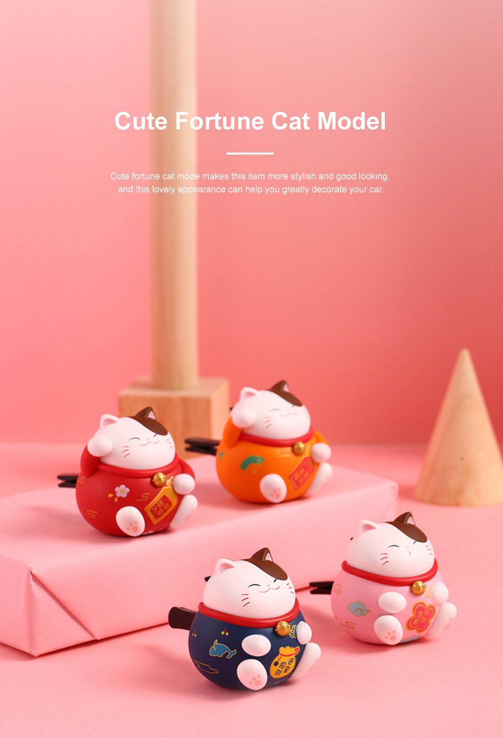 Cute Caron Fortune Cat Model Enduring Light Fragrance Car Perfume Aromatherapy Solid Perfume Ornament 5