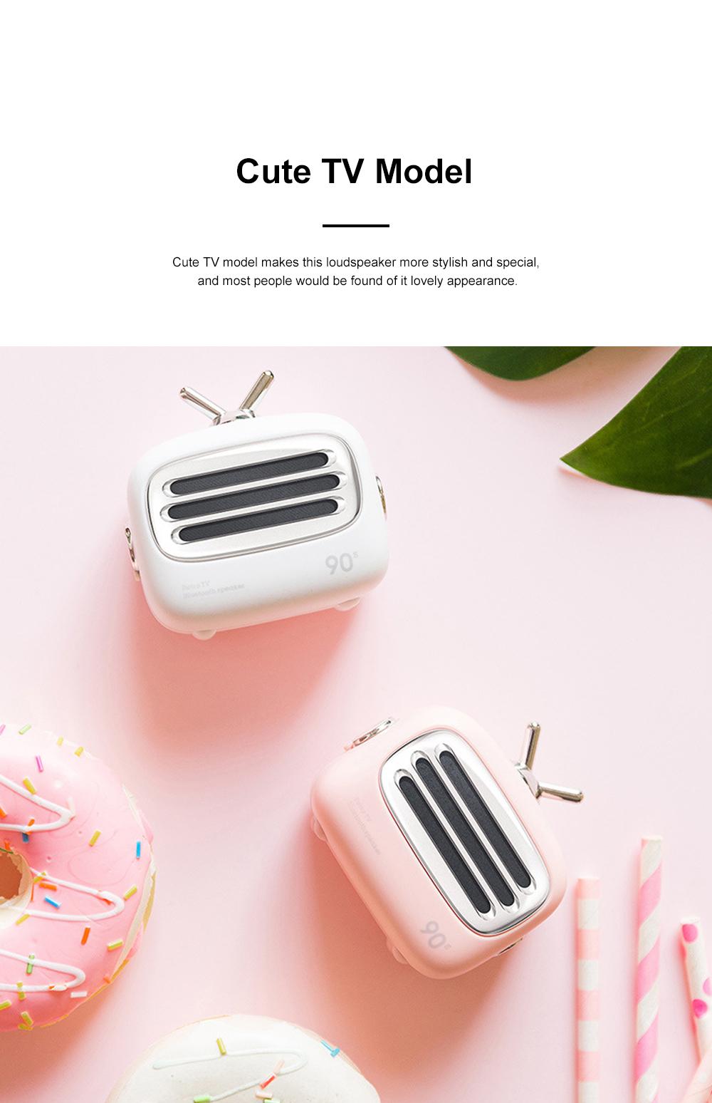Portable Creative Vintage TV Model Wireless Bluetooth Bass Loudspeaker Mini Carton Long Endurance Sound Box 6