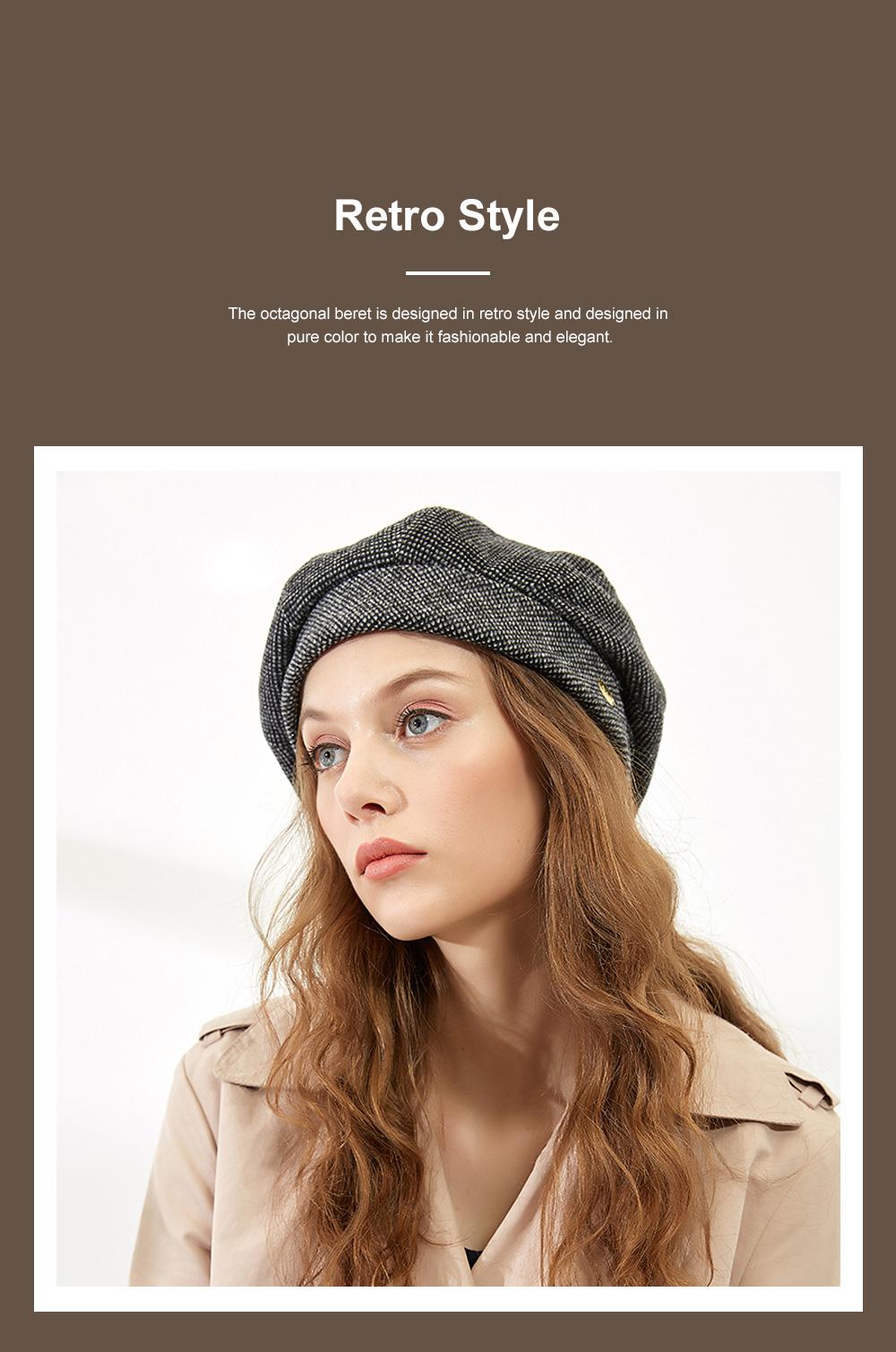 Retro Octagonal Beret for Travelling Breathable Woolen Pumpkin Hat Adjustable Head Circumference Top Hat Green Beret 2