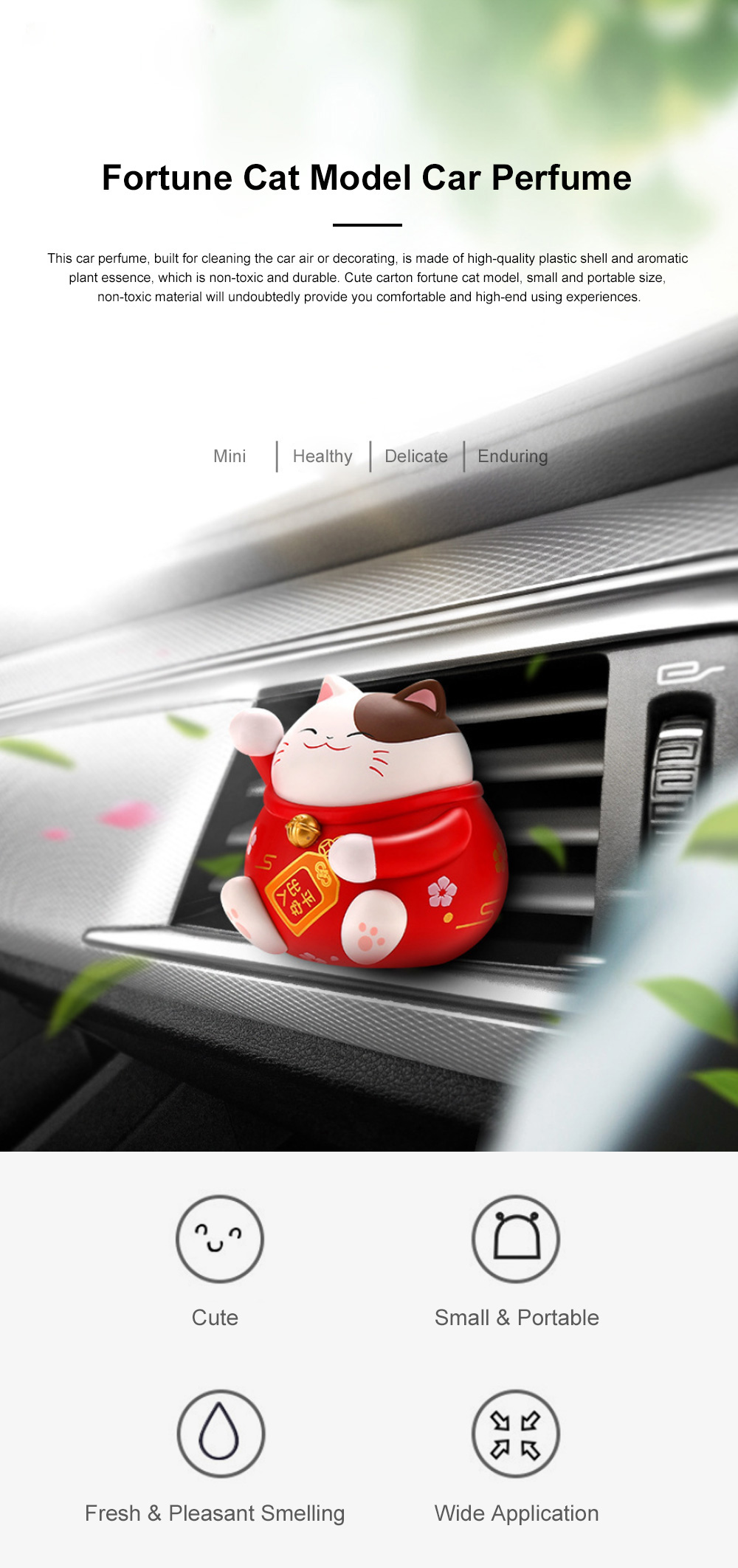Cute Caron Fortune Cat Model Enduring Light Fragrance Car Perfume Aromatherapy Solid Perfume Ornament 0