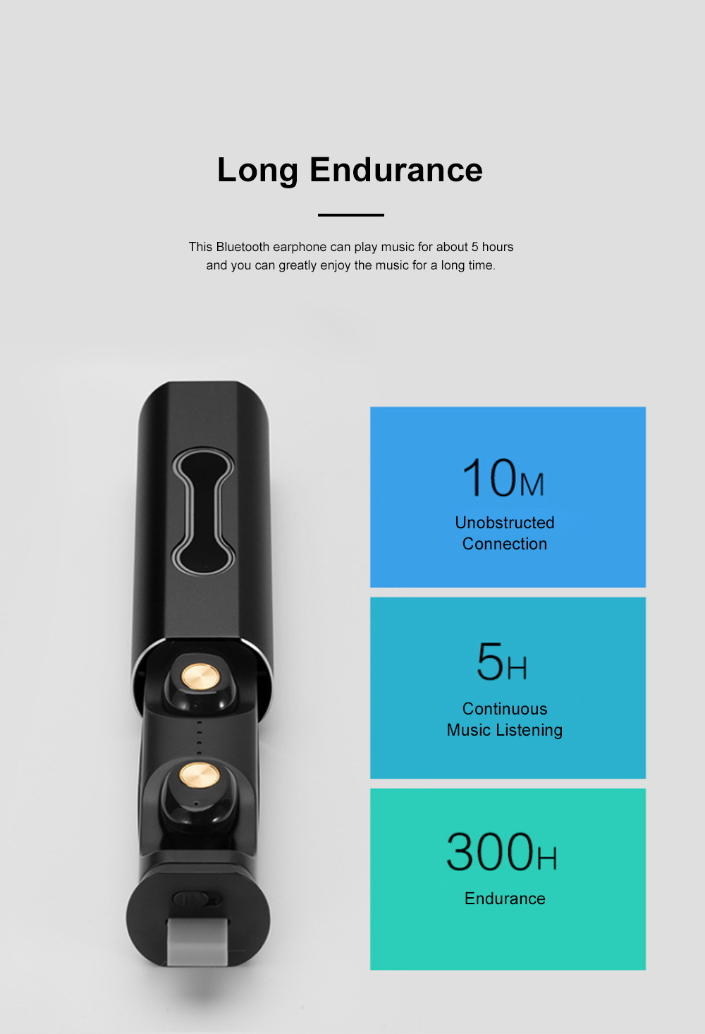 Portable Pull-Out Type Metal Case Bluetooth Earphones Long Endurance Wireless Headset with Wonderful Sound Quality 3