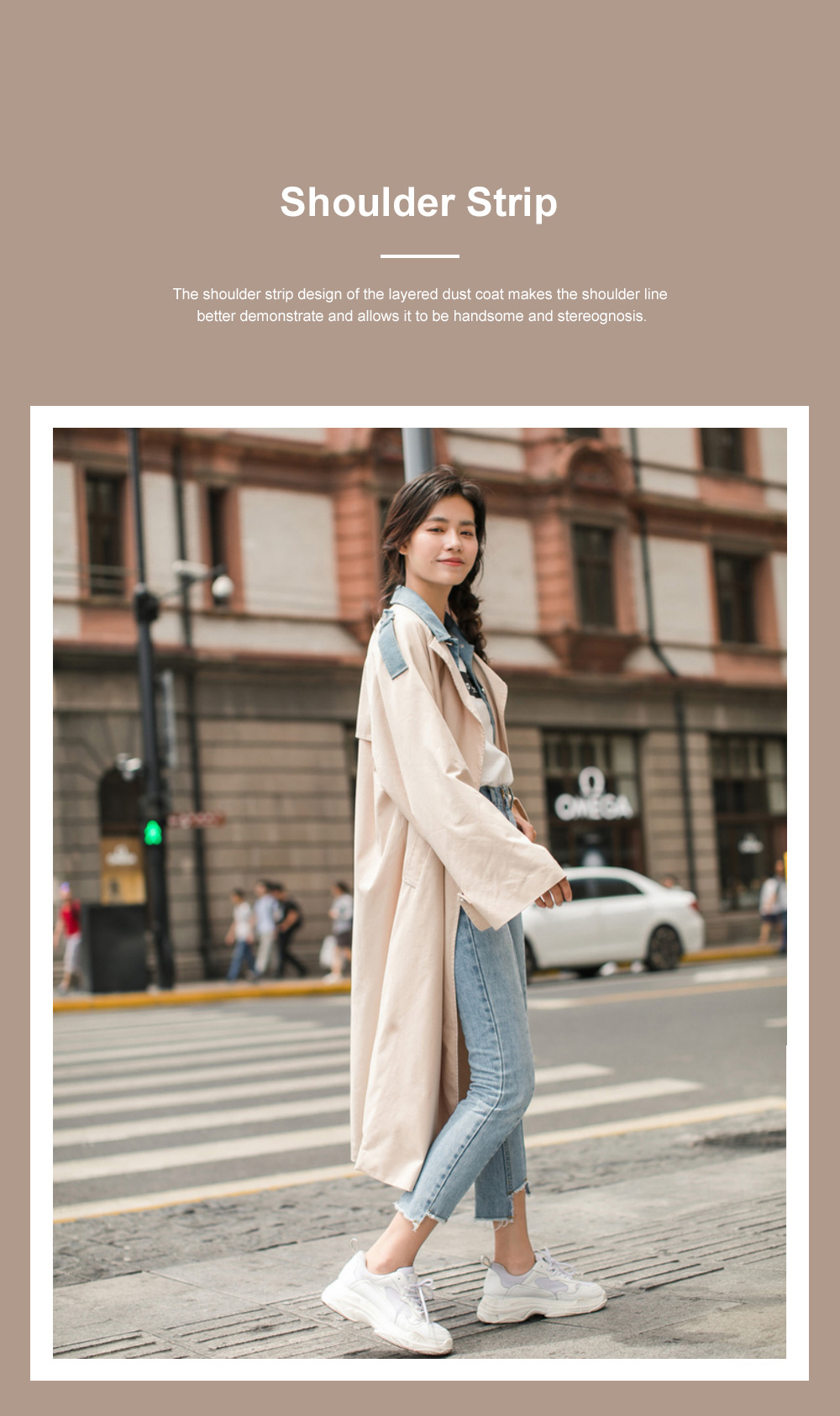Light Apricot Layered Dust Coat British Style Straight Wind Coat for Women Contrast Colored Chic Turndown Straight Windbreaker 6