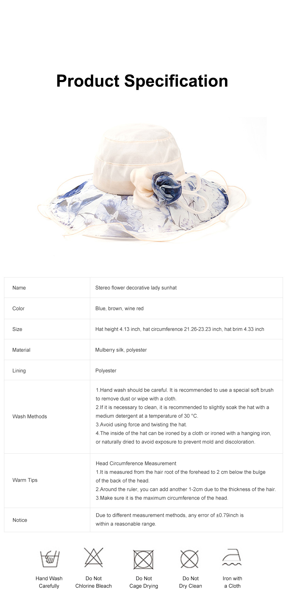 Minimalist Stylish Atmosphere Stereo Flower Model Decorative Foldable Lady Sun Bonnet Hat with Large Brim Wind Rope 6