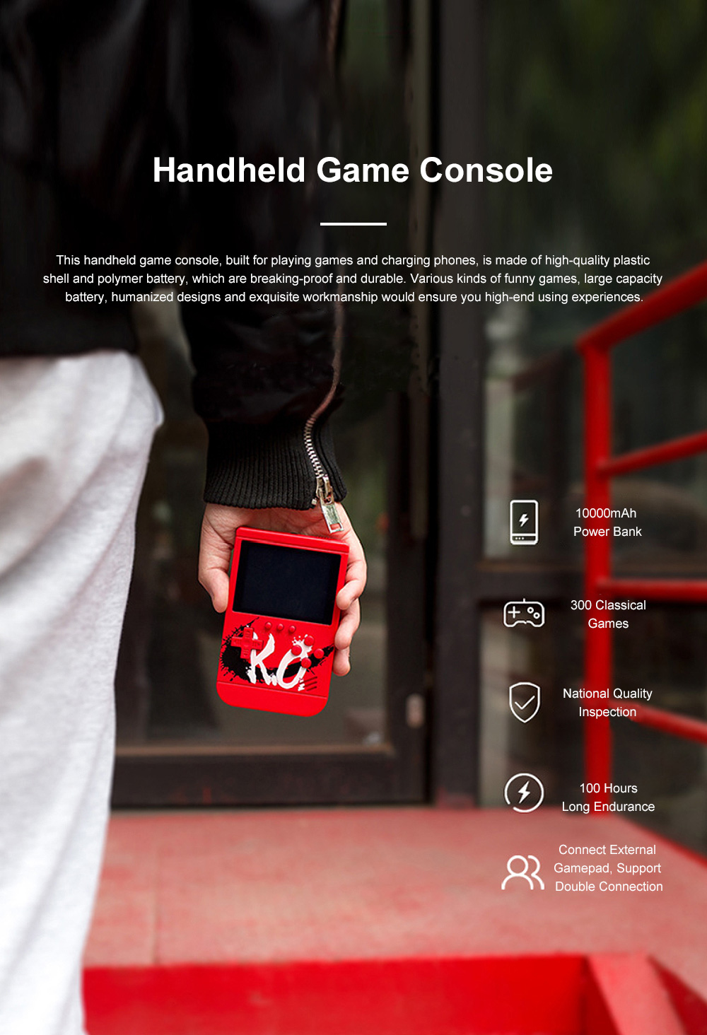 Portable Creative Functional Handheld Game Console Game Box 10000mah Large Capacity Wide Compatibility Power Bank 0