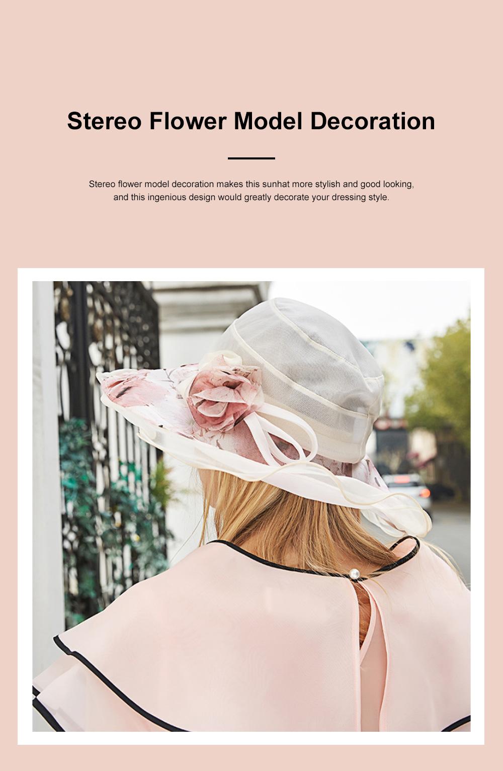 Minimalist Stylish Atmosphere Stereo Flower Model Decorative Foldable Lady Sun Bonnet Hat with Large Brim Wind Rope 4