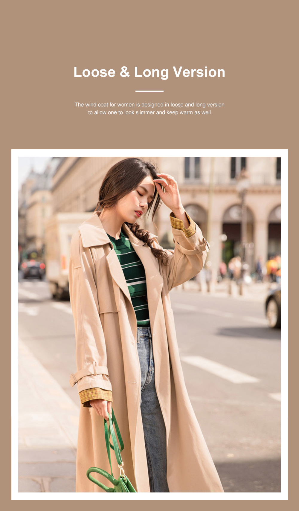 Color Contrast Plaid Cuff Wind Coat New Style Flip Collar Dust Coat for Women Wear Loose Version Mixed Fabric Windbreaker Long Pattern Trench Coat  2