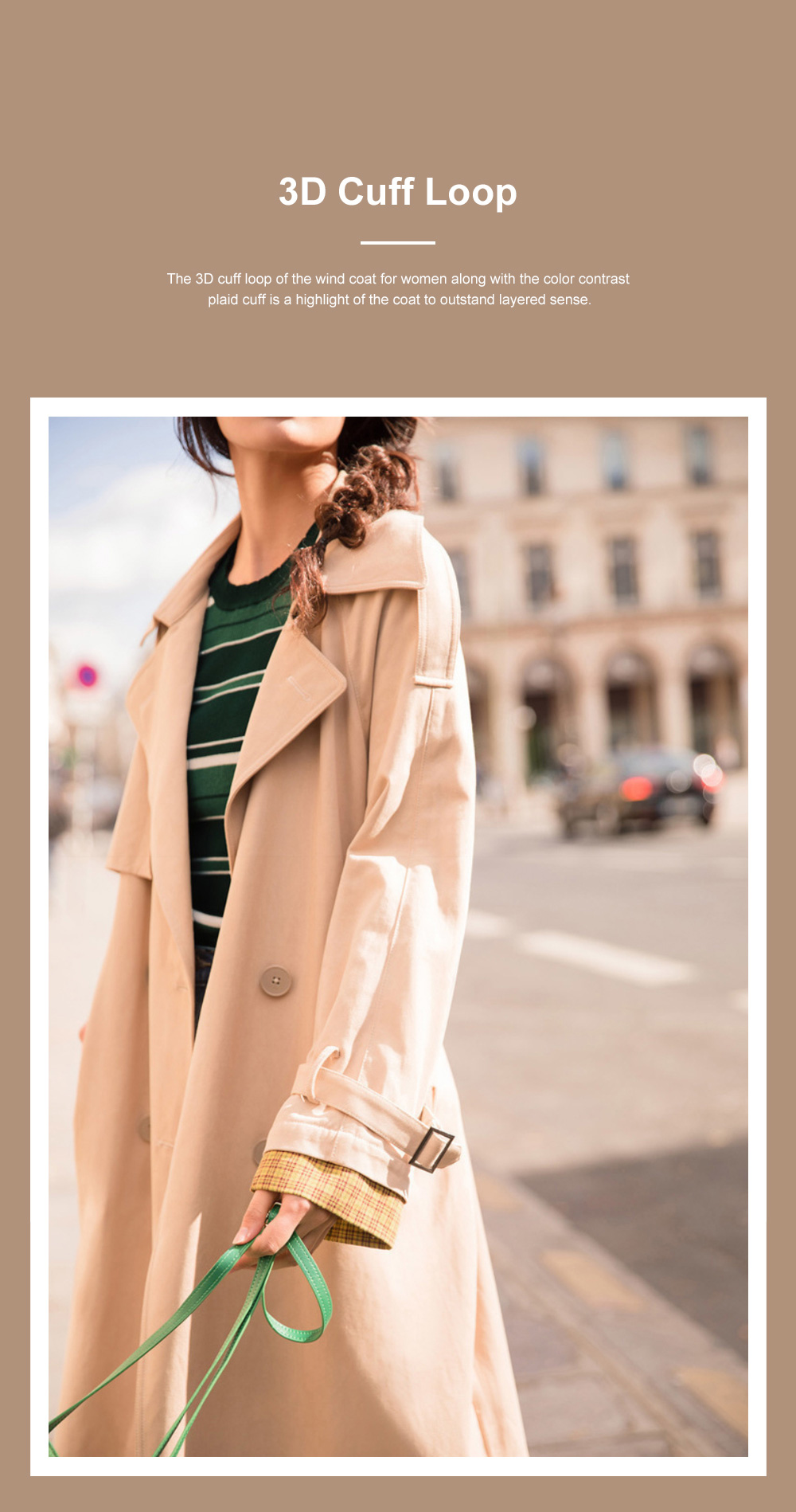 Color Contrast Plaid Cuff Wind Coat New Style Flip Collar Dust Coat for Women Wear Loose Version Mixed Fabric Windbreaker Long Pattern Trench Coat  4