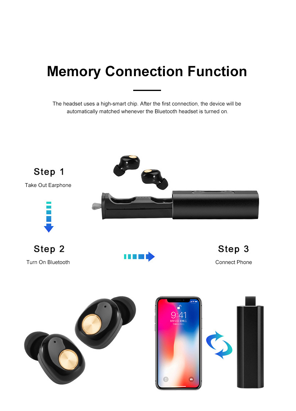 Portable Pull-Out Type Metal Case Bluetooth Earphones Long Endurance Wireless Headset with Wonderful Sound Quality 4