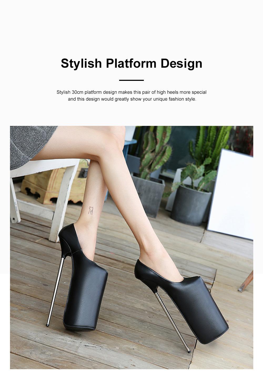 Stylish Sexy 30cm Platform Design High Heels Soft Skin-friendly PU Night Club Shoes with Anti-slip Rubber Sole Ins Hot 1