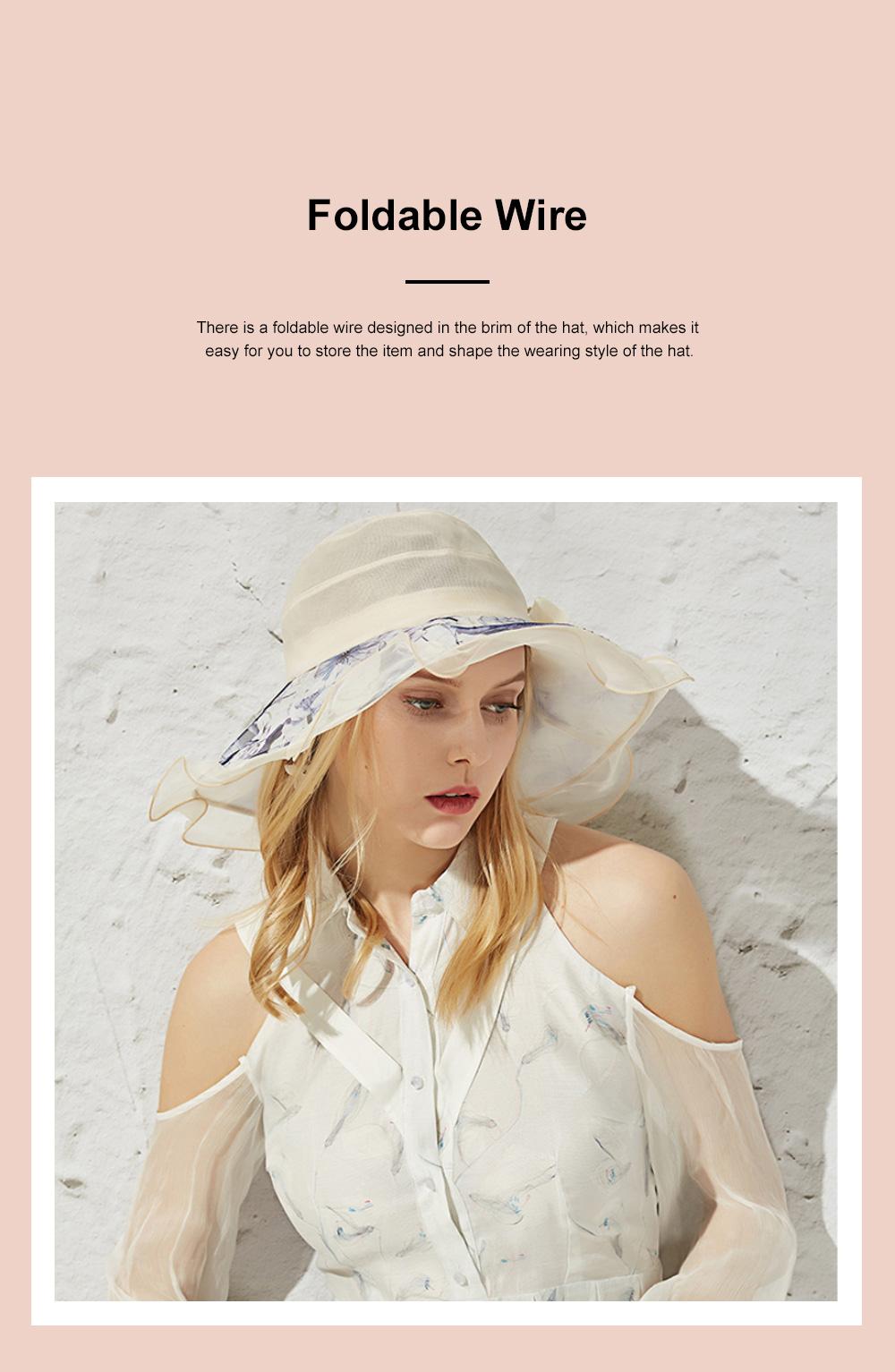 Minimalist Stylish Atmosphere Stereo Flower Model Decorative Foldable Lady Sun Bonnet Hat with Large Brim Wind Rope 2