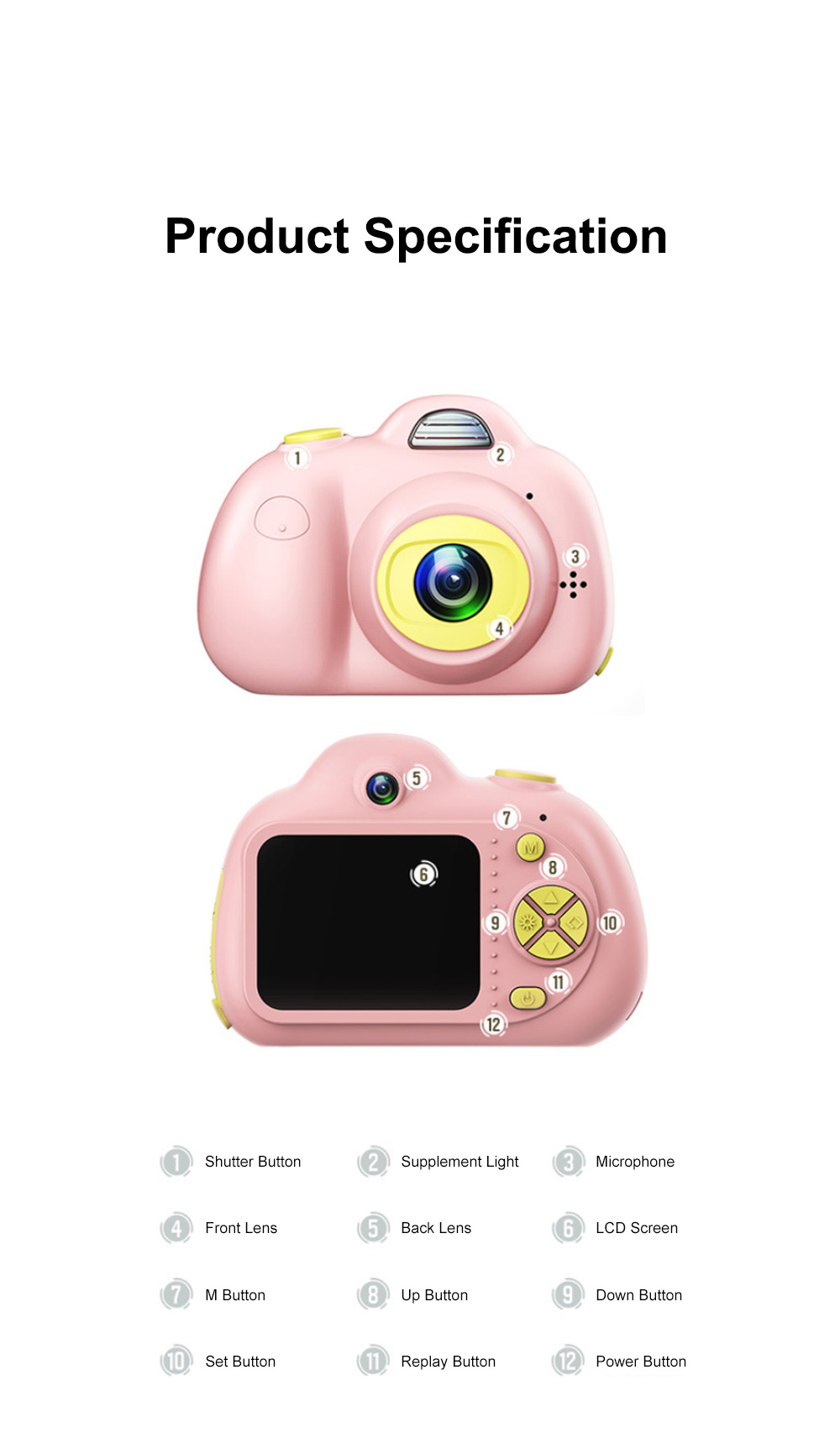 Children Digital Single Lens Reflex Creative Gift Household Use Broken-resistant Twin Lens Toy Camera Mini Funny Kids Digital Camera 10