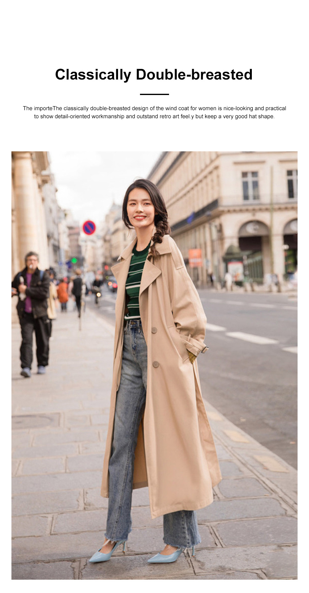 Color Contrast Plaid Cuff Wind Coat New Style Flip Collar Dust Coat for Women Wear Loose Version Mixed Fabric Windbreaker Long Pattern Trench Coat  1
