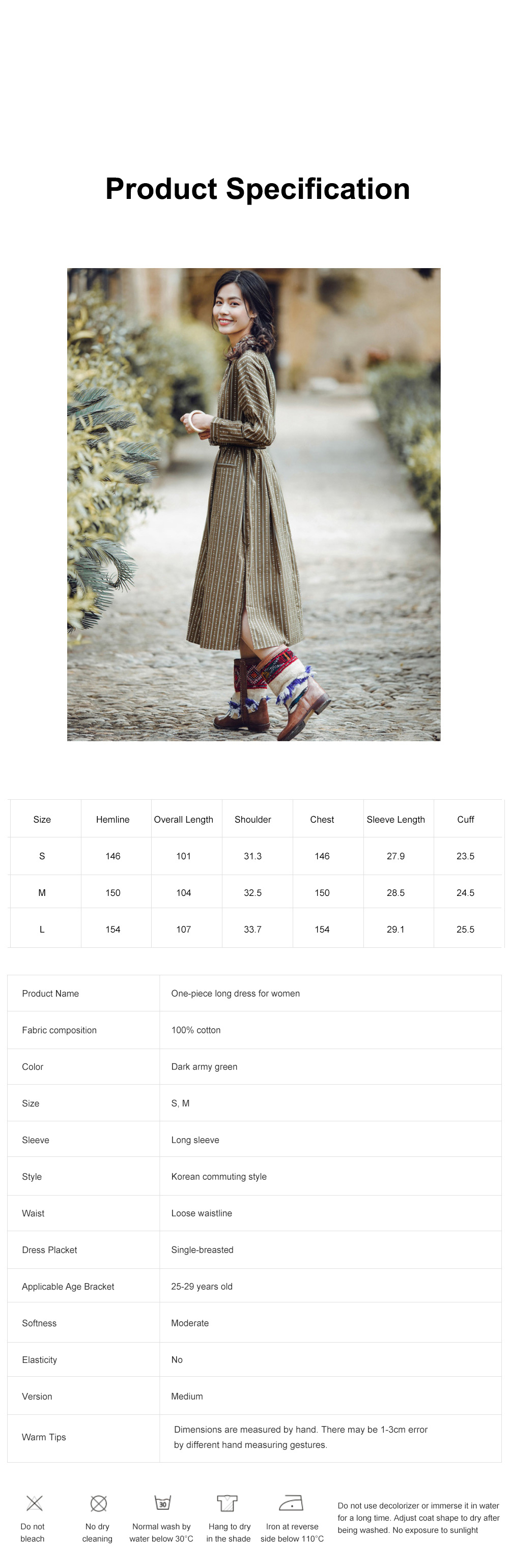 Stripe One-piece Long Dress Retro Arty Long Dust Coat for Women Pure Cotton Loose One-piece Dress Polo Collar Dress 6
