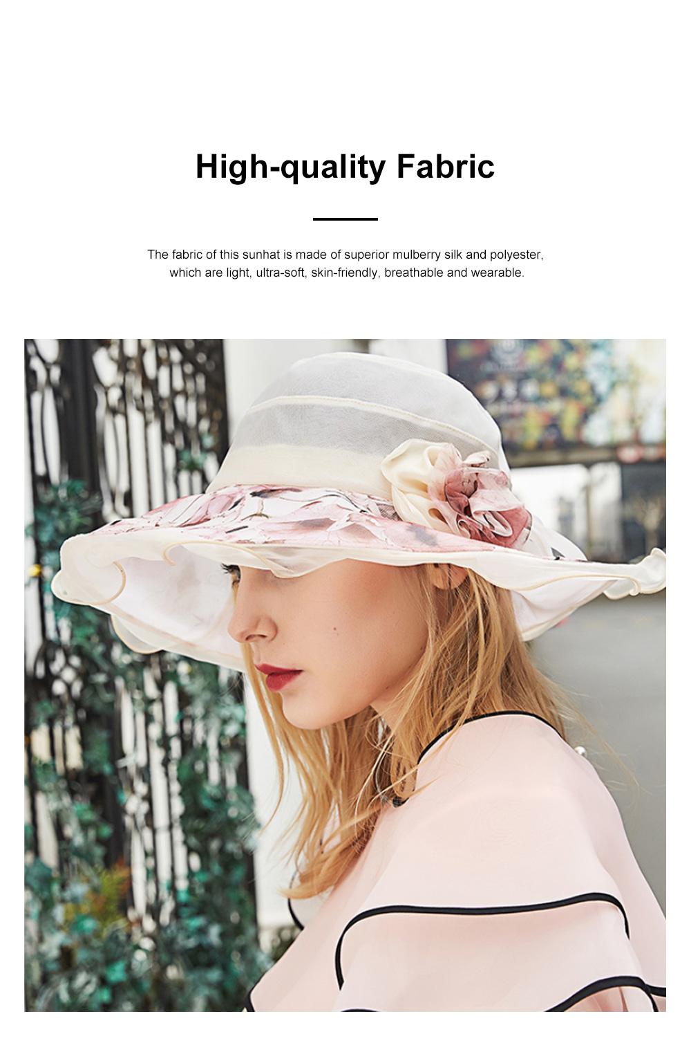 Minimalist Stylish Atmosphere Stereo Flower Model Decorative Foldable Lady Sun Bonnet Hat with Large Brim Wind Rope 3