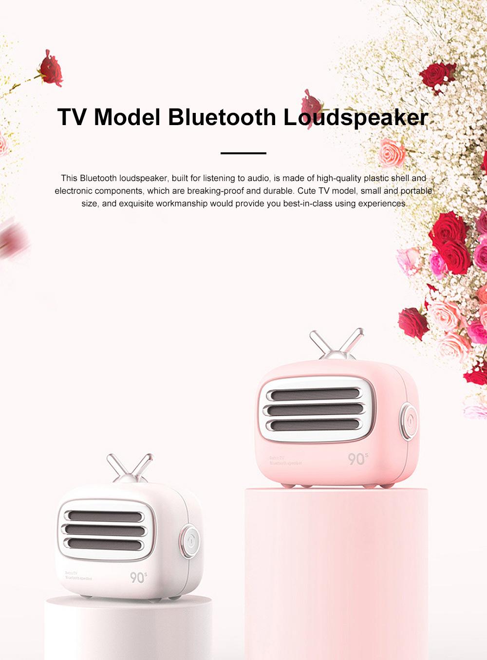 Portable Creative Vintage TV Model Wireless Bluetooth Bass Loudspeaker Mini Carton Long Endurance Sound Box 0