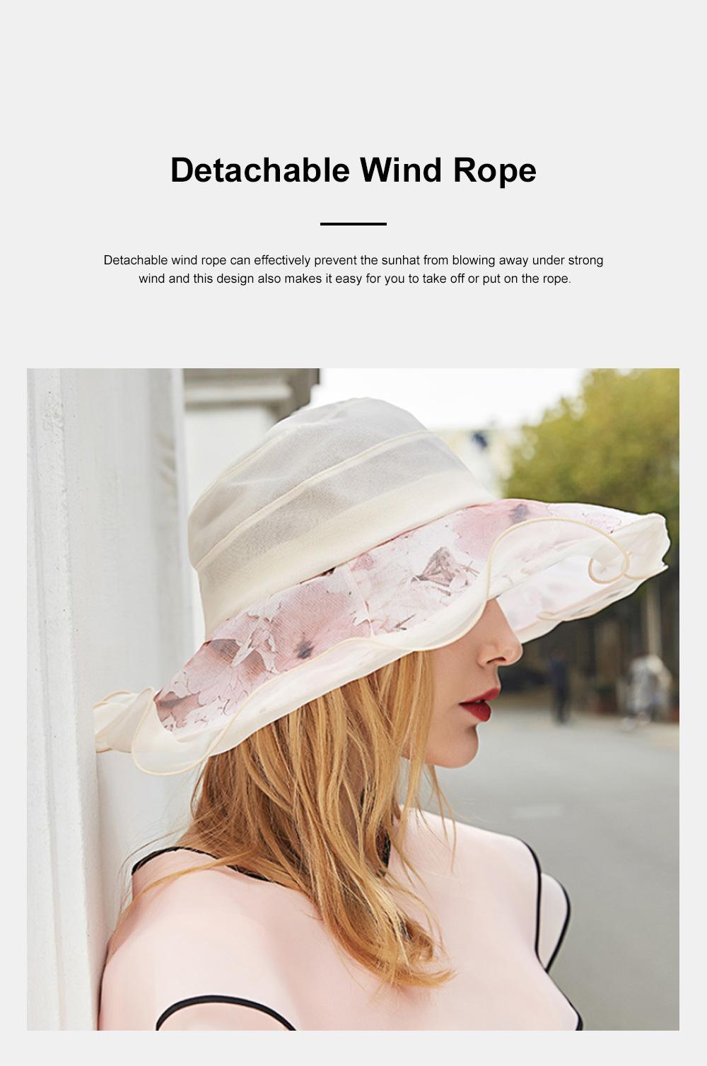 Minimalist Stylish Atmosphere Stereo Flower Model Decorative Foldable Lady Sun Bonnet Hat with Large Brim Wind Rope 5
