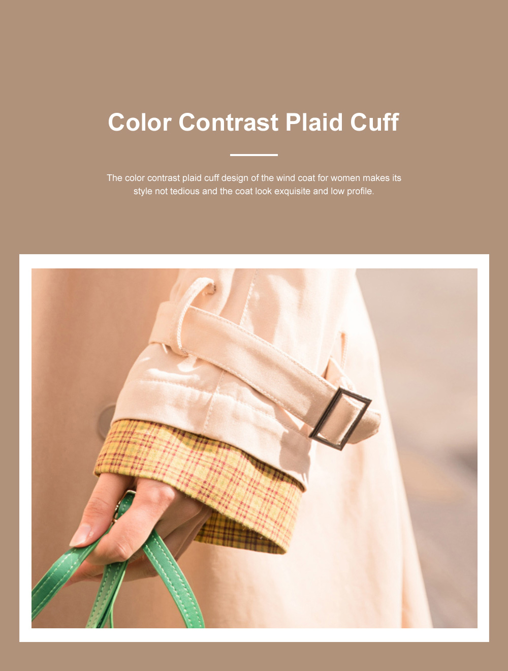 Color Contrast Plaid Cuff Wind Coat New Style Flip Collar Dust Coat for Women Wear Loose Version Mixed Fabric Windbreaker Long Pattern Trench Coat  6