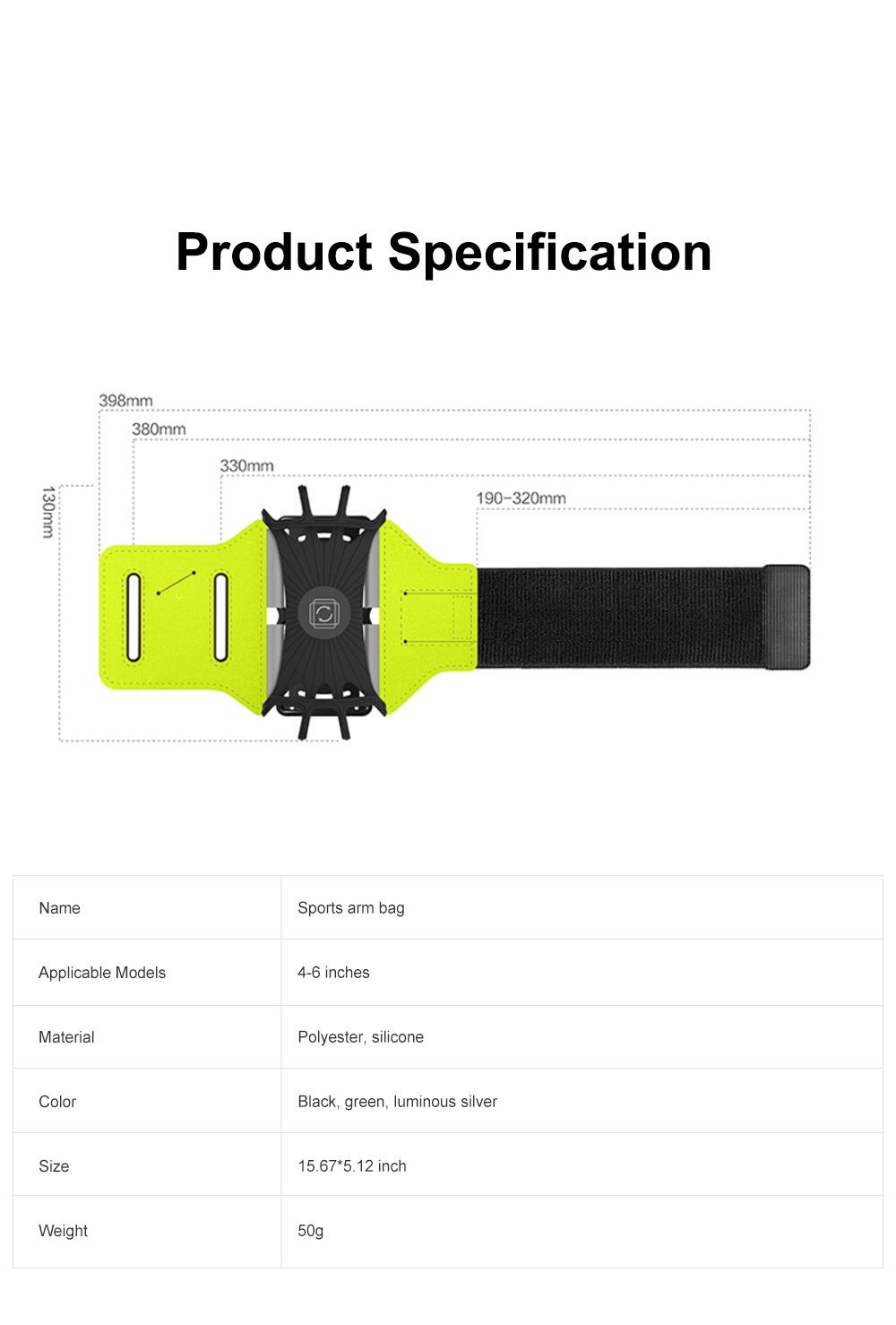 Multifunctional Portable Outdoors Running Mountain Climbing Gym Sports Unisex Luminous Night Light Rotatable Arm Bag 9