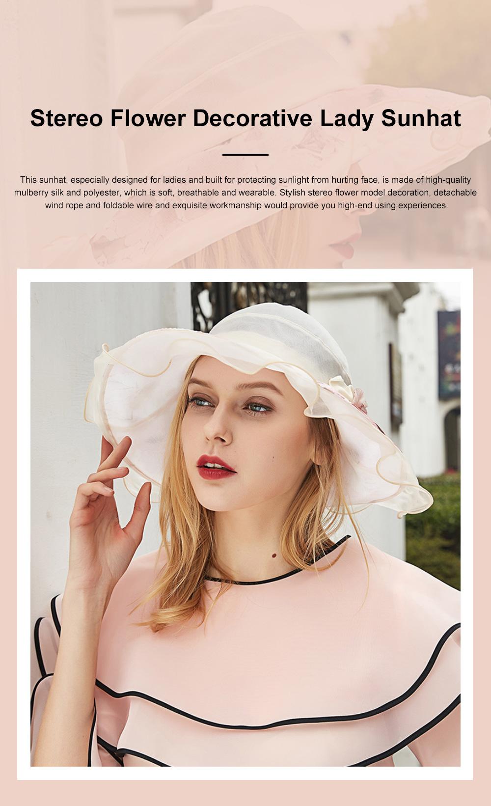 Minimalist Stylish Atmosphere Stereo Flower Model Decorative Foldable Lady Sun Bonnet Hat with Large Brim Wind Rope 0
