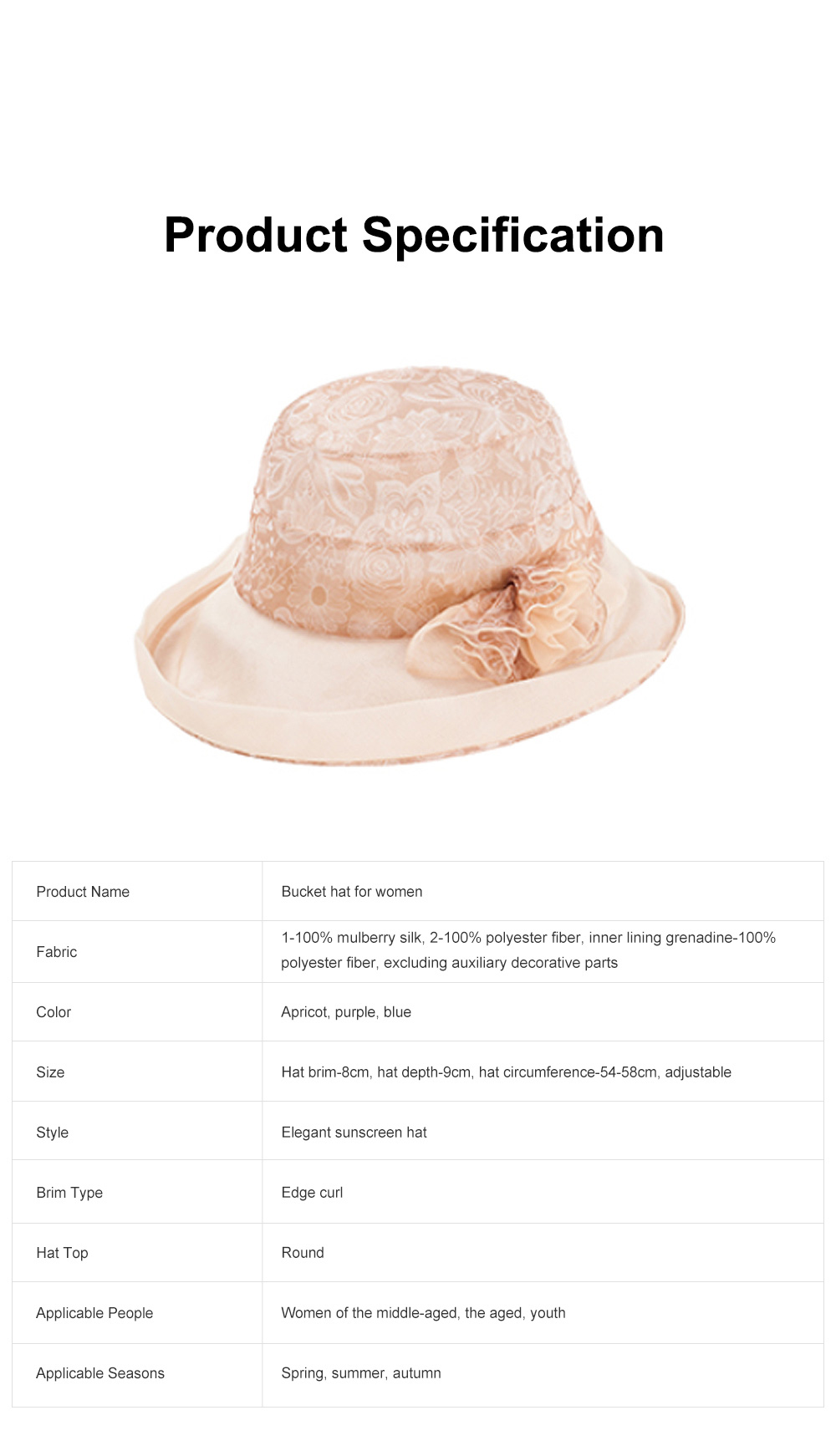 Foldable Bucket Hat for Outdoors Summer Travelling Beach Real Silk Sunscreen Bonnet All-match Windproof Large Brim Bucket Hat 7