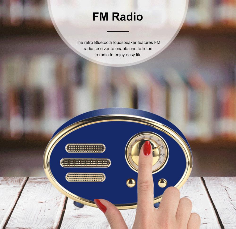 Retro Plastic Bluetooth Loudspeaker with FM Radio Receiver Portable Wireless Baffle Box Durable Mini Speaker Nice-looking Loudspeaker Box 6