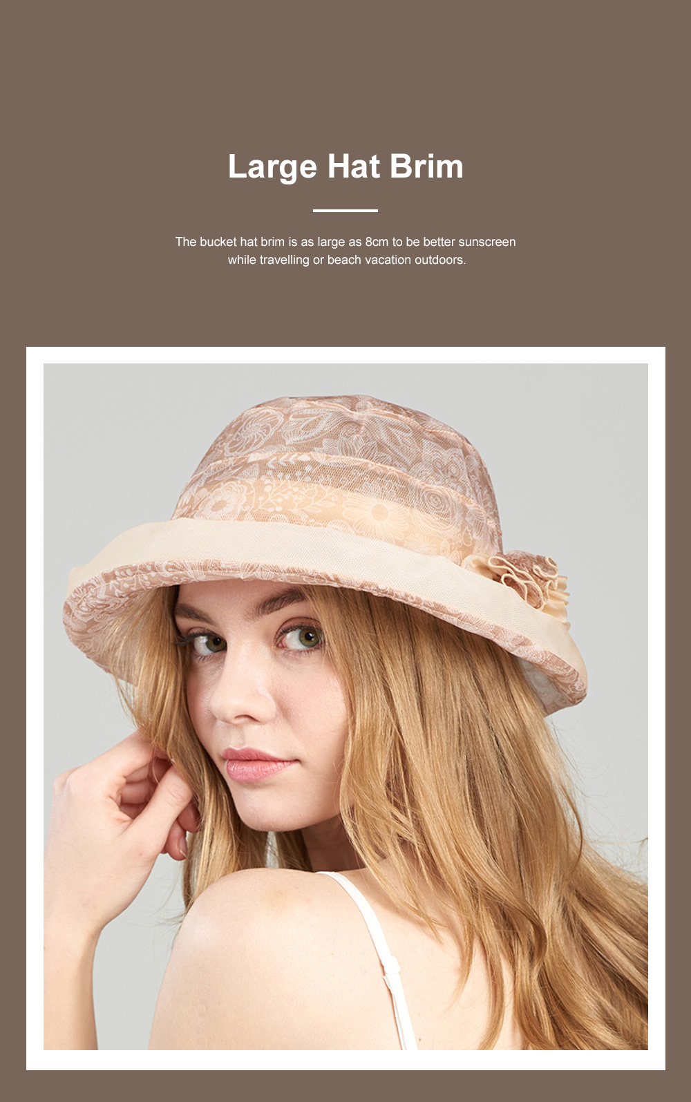 Foldable Bucket Hat for Outdoors Summer Travelling Beach Real Silk Sunscreen Bonnet All-match Windproof Large Brim Bucket Hat 2