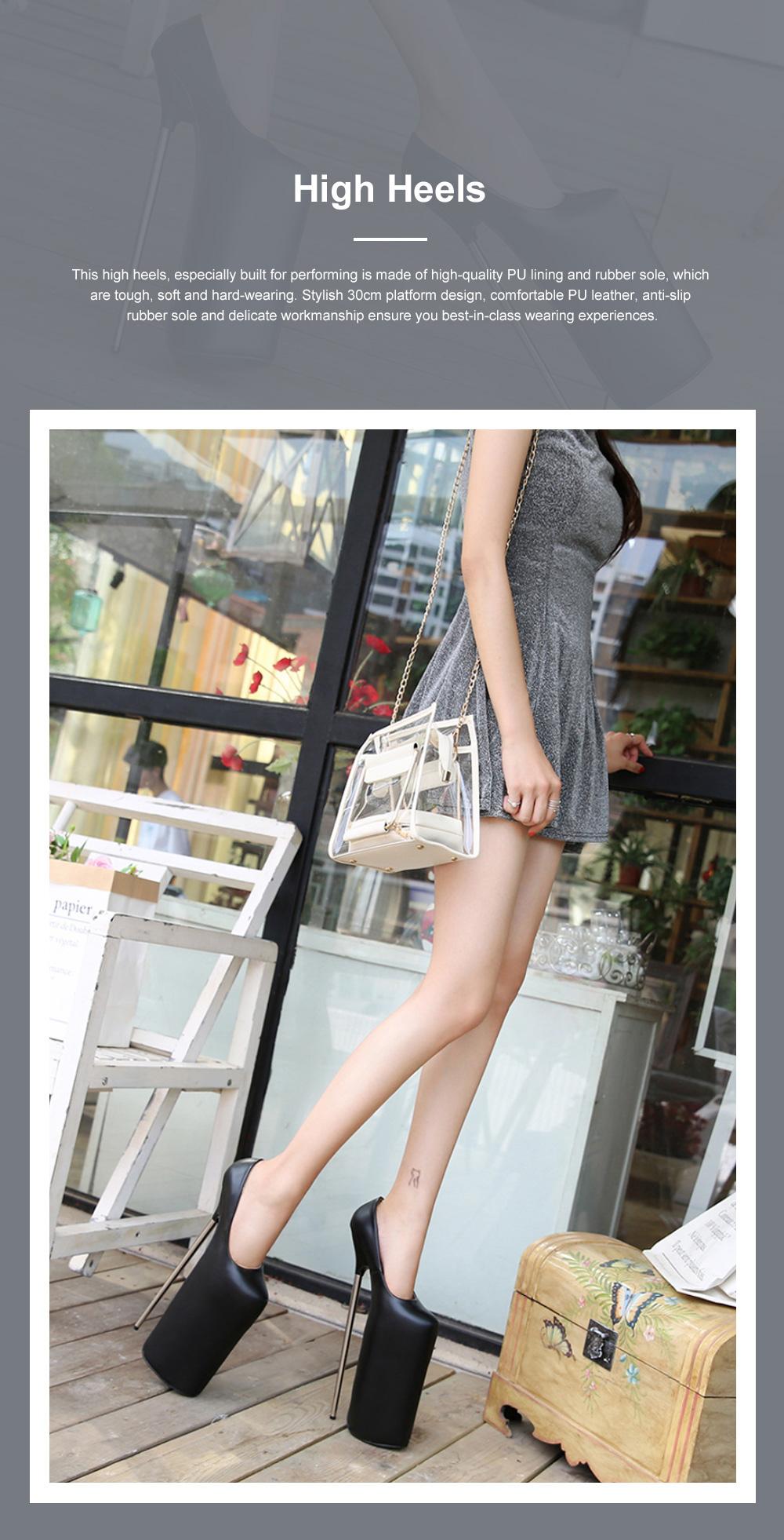 Stylish Sexy 30cm Platform Design High Heels Soft Skin-friendly PU Night Club Shoes with Anti-slip Rubber Sole Ins Hot 0