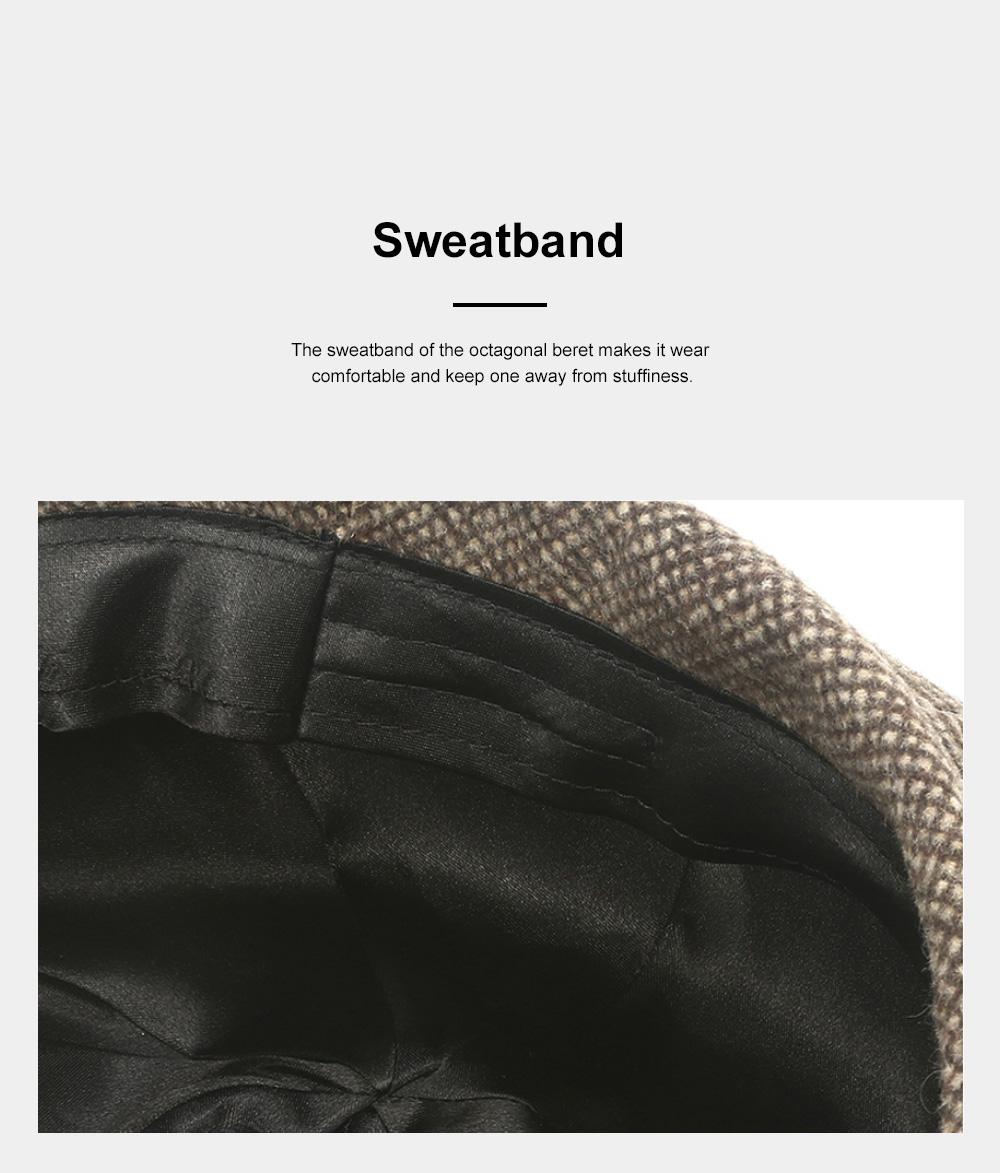 Retro Octagonal Beret for Travelling Breathable Woolen Pumpkin Hat Adjustable Head Circumference Top Hat Green Beret 5