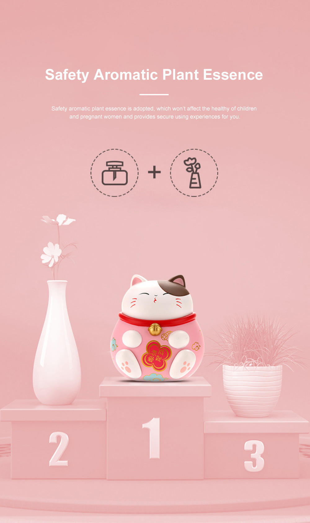 Cute Caron Fortune Cat Model Enduring Light Fragrance Car Perfume Aromatherapy Solid Perfume Ornament 3