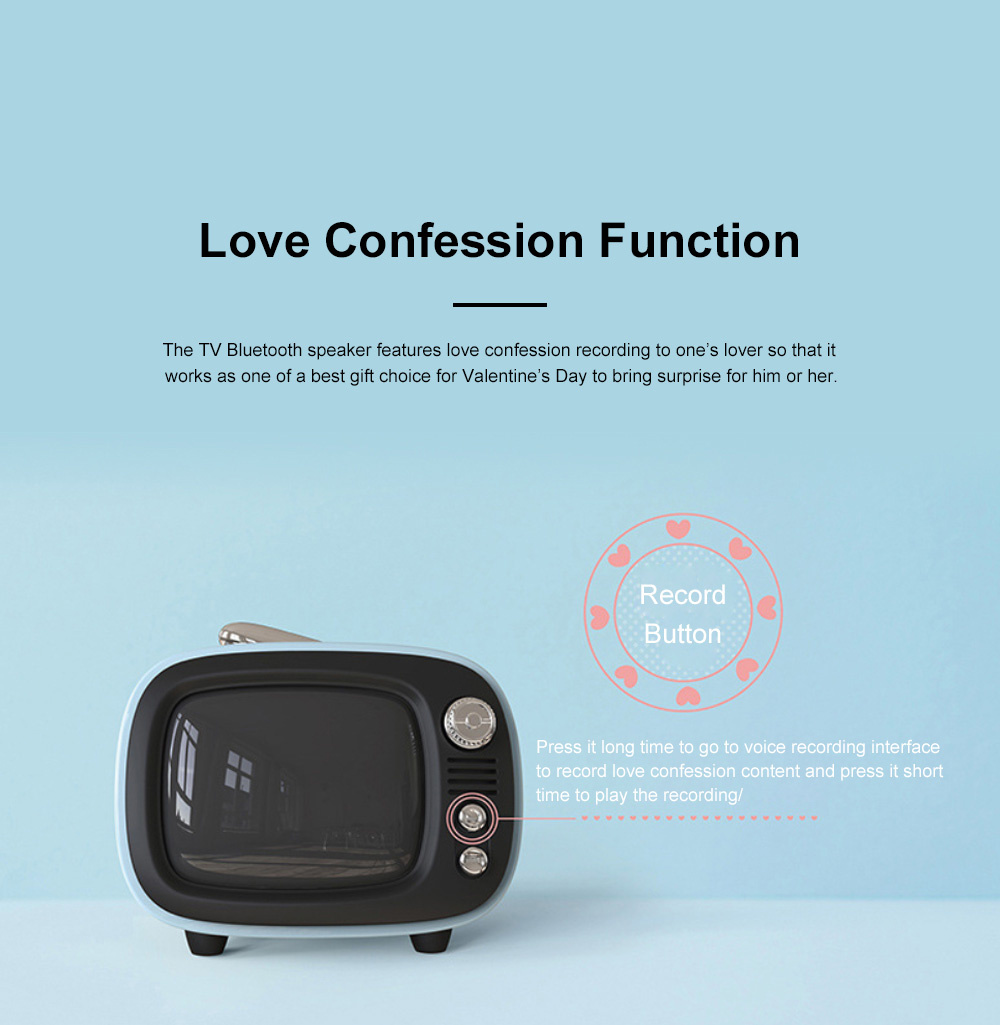 LOFREE Retro TV Bluetooth Speaker Portable Wireless Mini Bass Alarm Clock Love Confession Loudspeaker for Lover's Best Gift 3