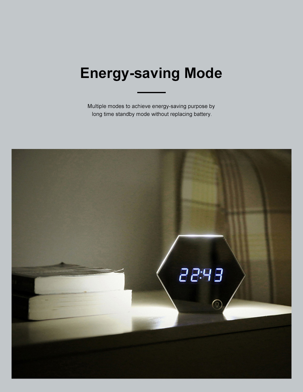 Multifunctional Mirror Alarm Clock for Office Bedroom Use Sophisticated Infinitely Adjustable Light LED Clock Clearly Visible Time Display Cosmetic Mirror 8