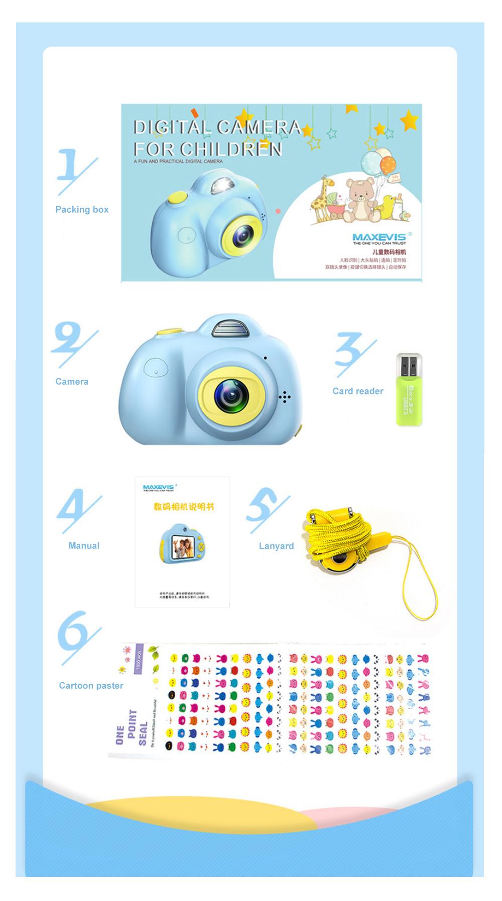 Children Digital Single Lens Reflex Creative Gift Household Use Broken-resistant Twin Lens Toy Camera Mini Funny Kids Digital Camera 12