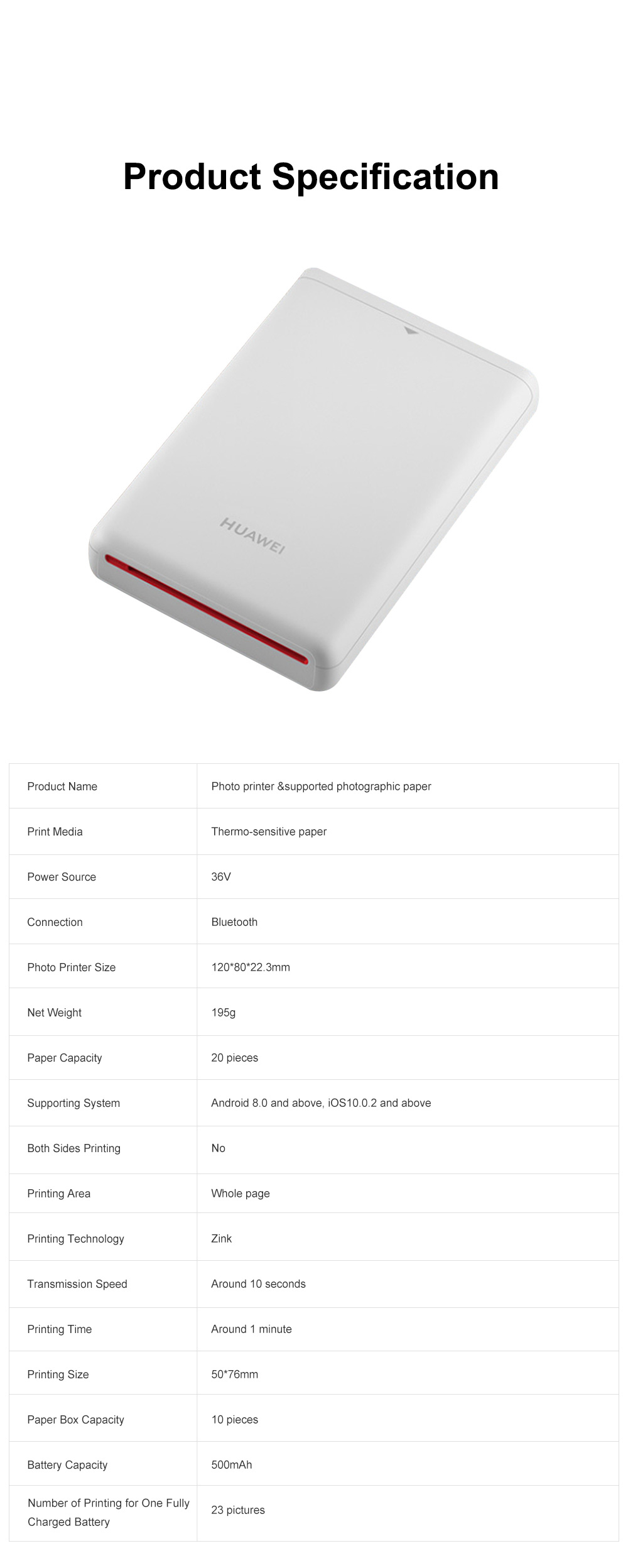 Huawei Portable Bluetooth Photo Printer for Outdoors Picture Printing Mini Instant Camera Photographic Paper Easy Carry Photo Printing Paper 12