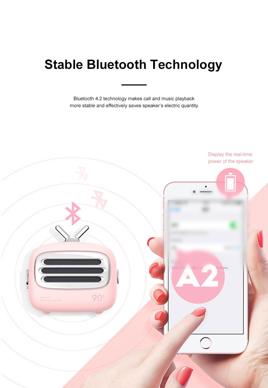 Portable Creative Vintage TV Model Wireless Bluetooth Bass Loudspeaker Mini Carton Long Endurance Sound Box 3
