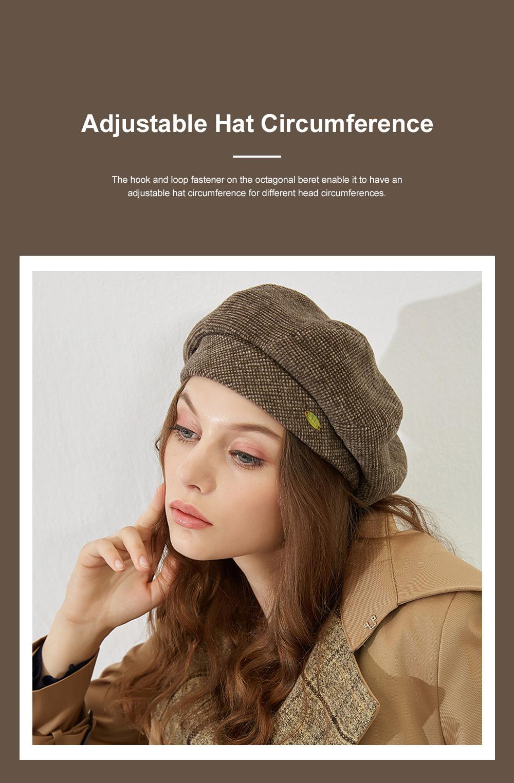Retro Octagonal Beret for Travelling Breathable Woolen Pumpkin Hat Adjustable Head Circumference Top Hat Green Beret 4