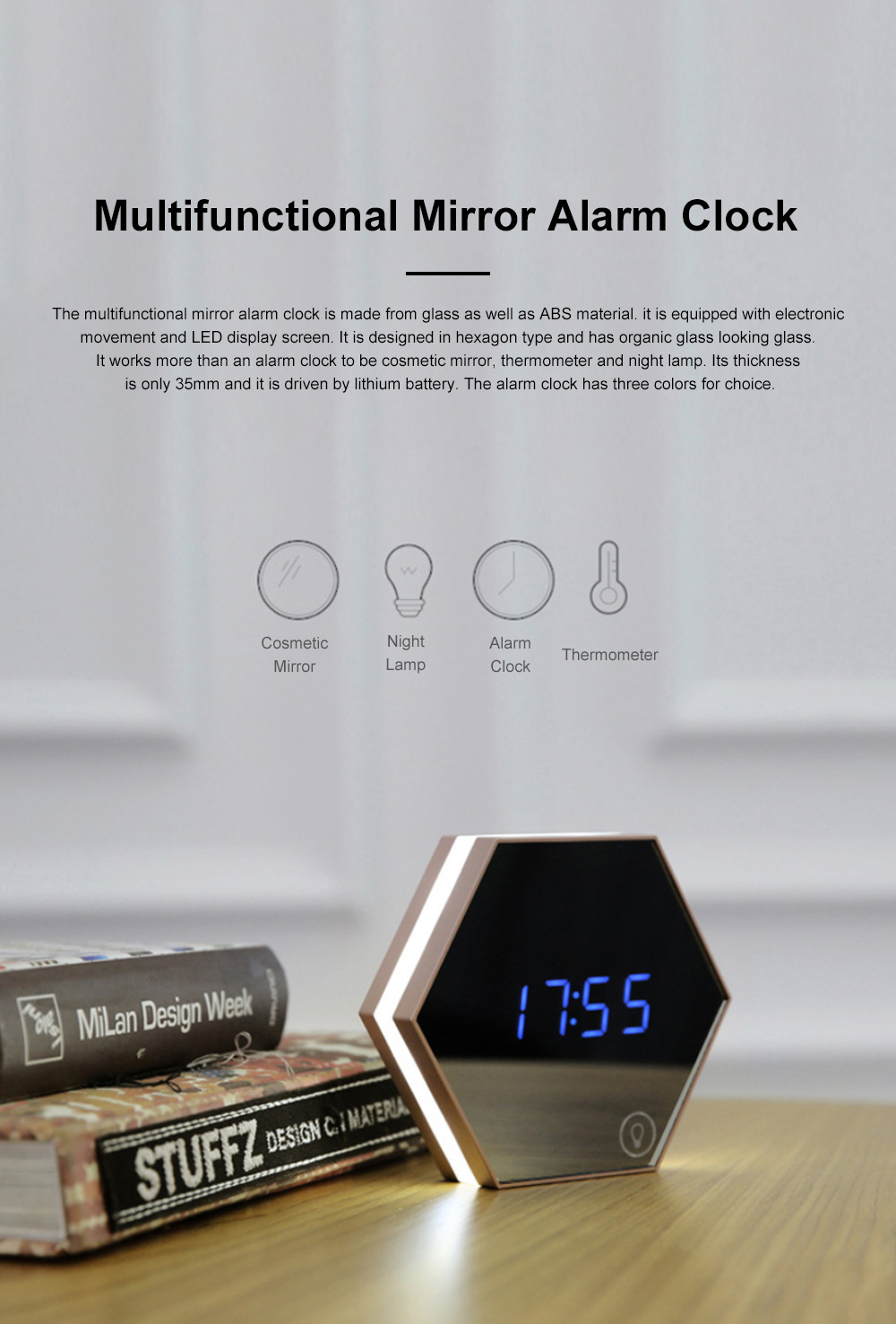 Multifunctional Mirror Alarm Clock for Office Bedroom Use Sophisticated Infinitely Adjustable Light LED Clock Clearly Visible Time Display Cosmetic Mirror 0