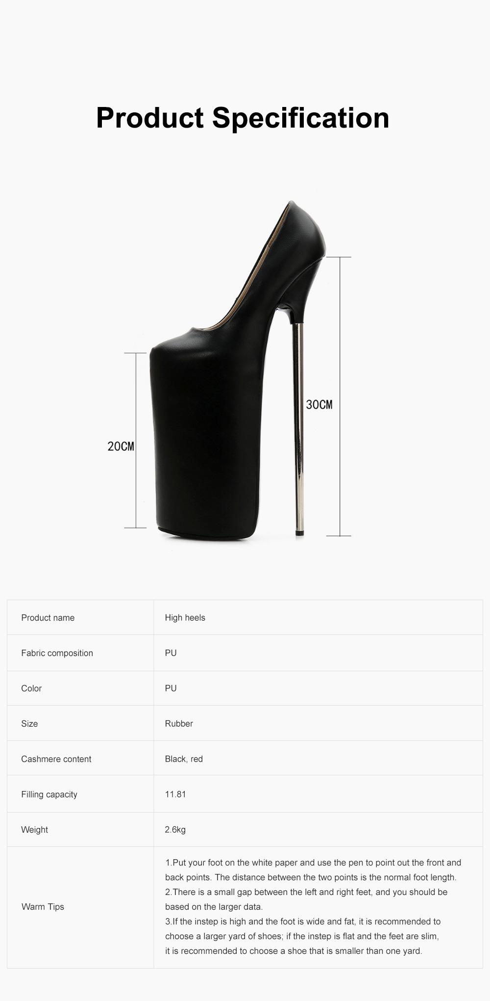 Stylish Sexy 30cm Platform Design High Heels Soft Skin-friendly PU Night Club Shoes with Anti-slip Rubber Sole Ins Hot 6