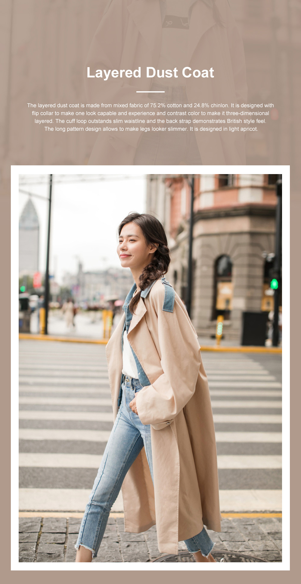 Light Apricot Layered Dust Coat British Style Straight Wind Coat for Women Contrast Colored Chic Turndown Straight Windbreaker 0