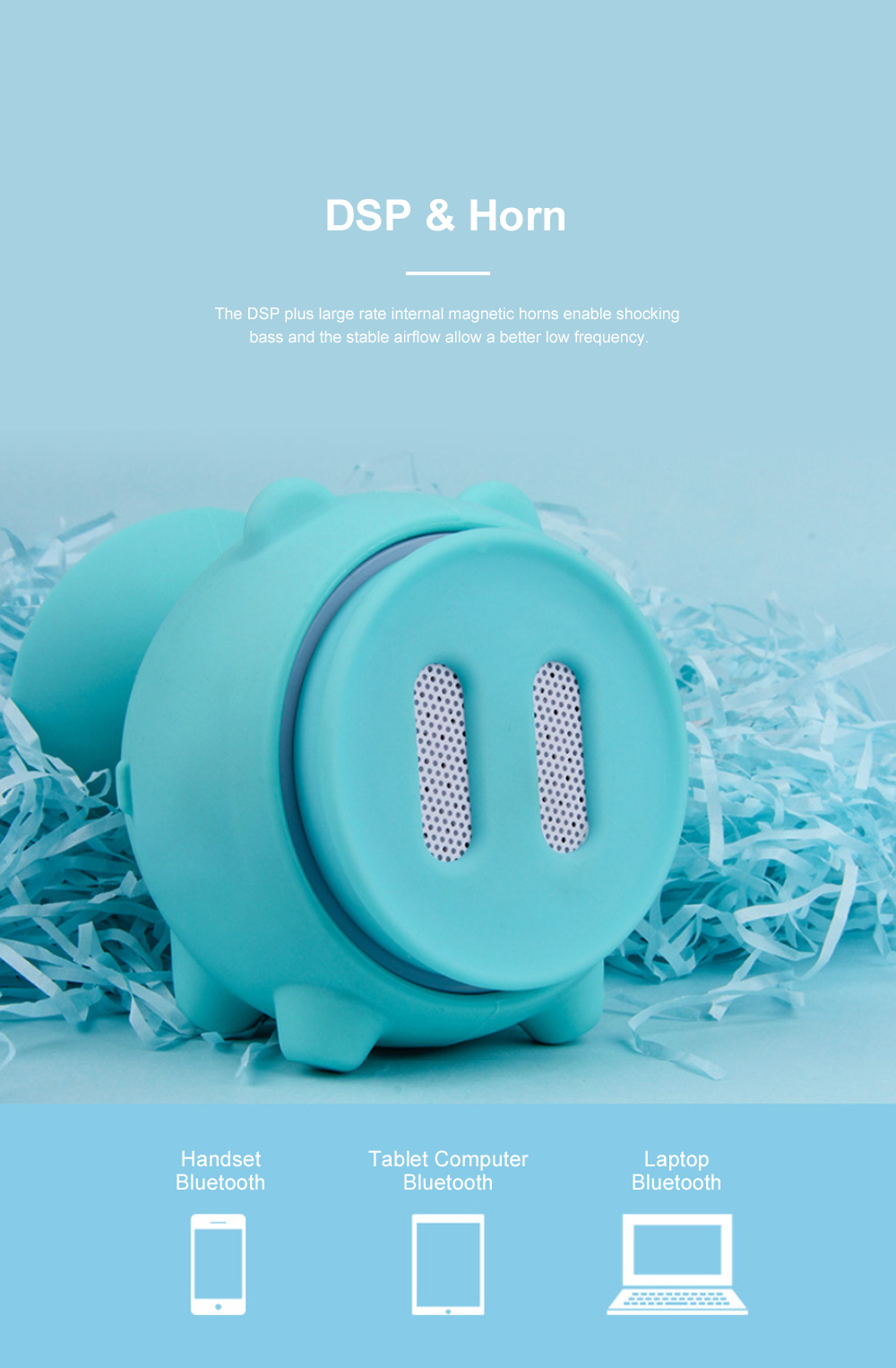Portable Bluetooth Speaker for Outdoors Household Use Waterproof Cartoon Pig Loudspeaker Mini Picture Shooting Loudspeaker Box 9