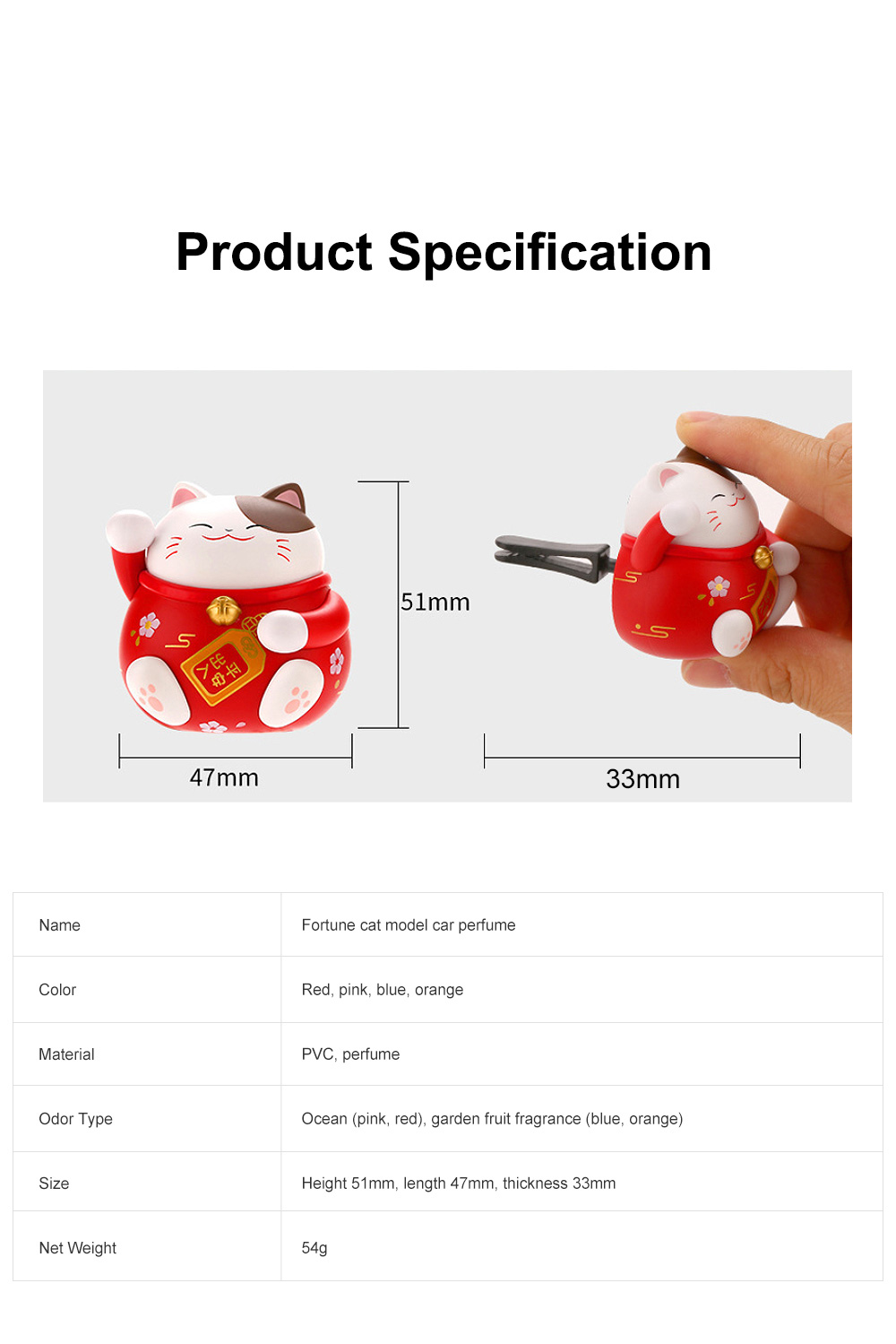 Cute Caron Fortune Cat Model Enduring Light Fragrance Car Perfume Aromatherapy Solid Perfume Ornament 8