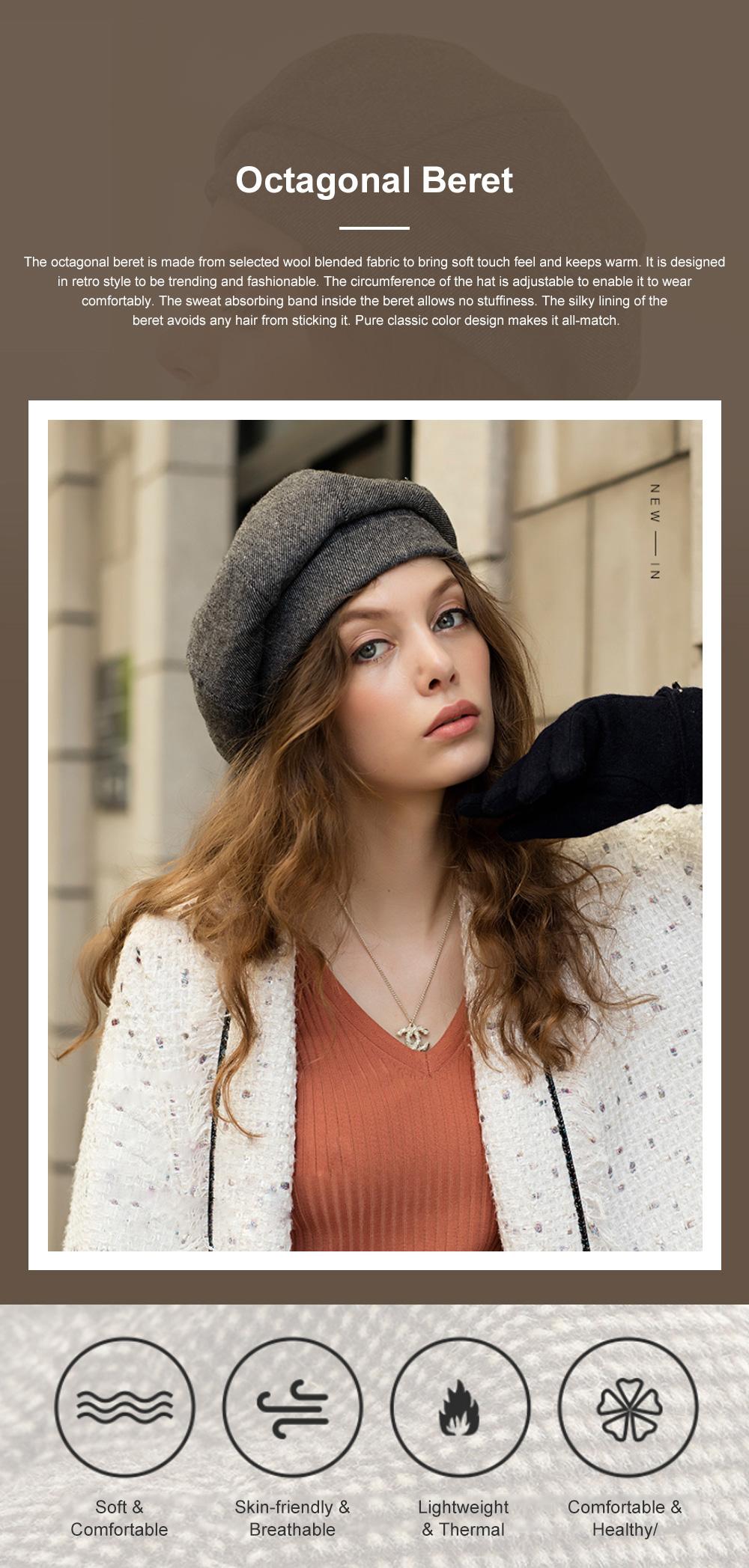 Retro Octagonal Beret for Travelling Breathable Woolen Pumpkin Hat Adjustable Head Circumference Top Hat Green Beret 0