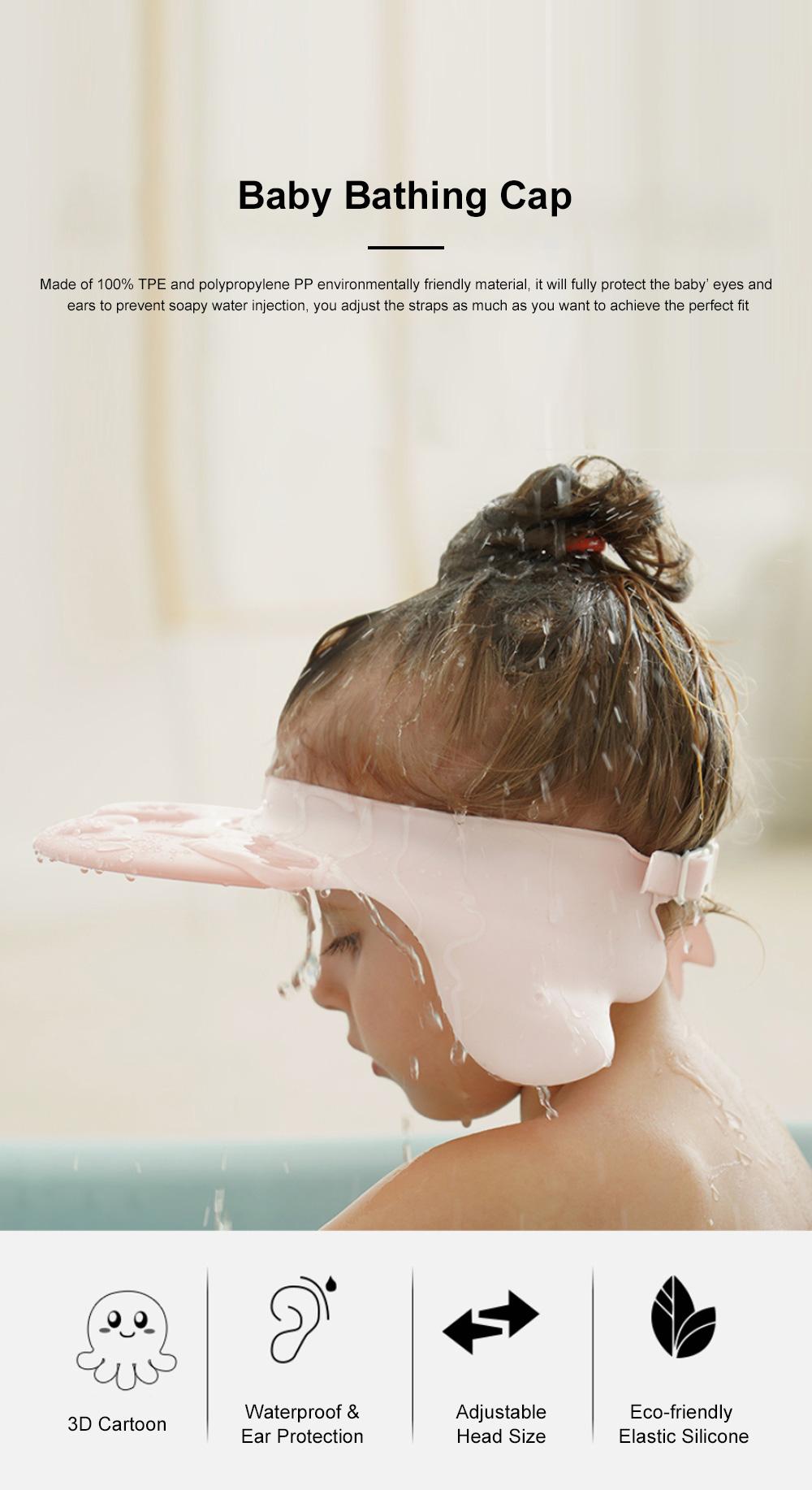 Baby Bathing Cap Shampoo Visor Bathroom Safety Caps with Adjustable Sticker Waterproof & Elastic Octopus Shampoo Hat for Showers, Bathing 0