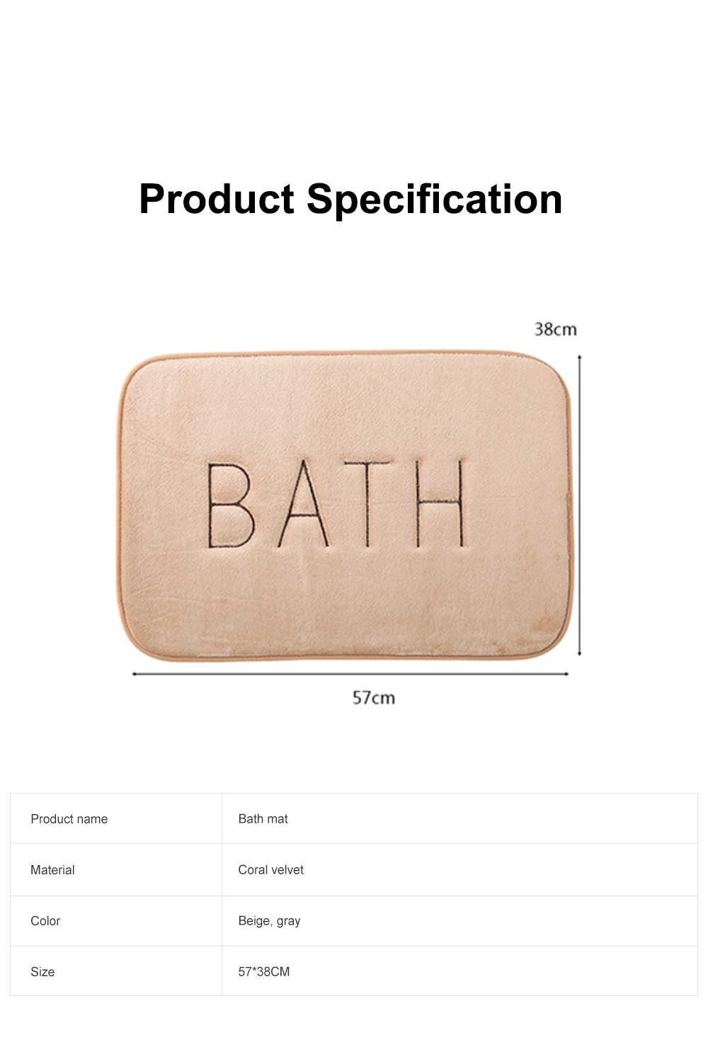 Coral Velvet Bath Mat Absorbent Cozy Bathroom Rug Carpet Memory Foam Non Slip Machine Washable 6