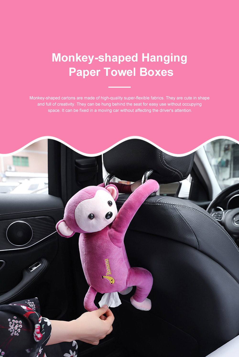 Monkey-shaped Hanging Paper Towel Boxes Popular Car Tissue Bag Pumping Carton Paper Towels Case TikTok Hot 0