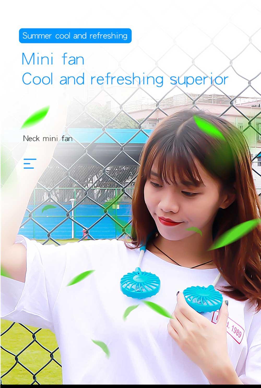 Mini Usb Neck Fan Neckband Small Desk Fan Handheld Wearable Rechargeable Air Cooling Fan 14