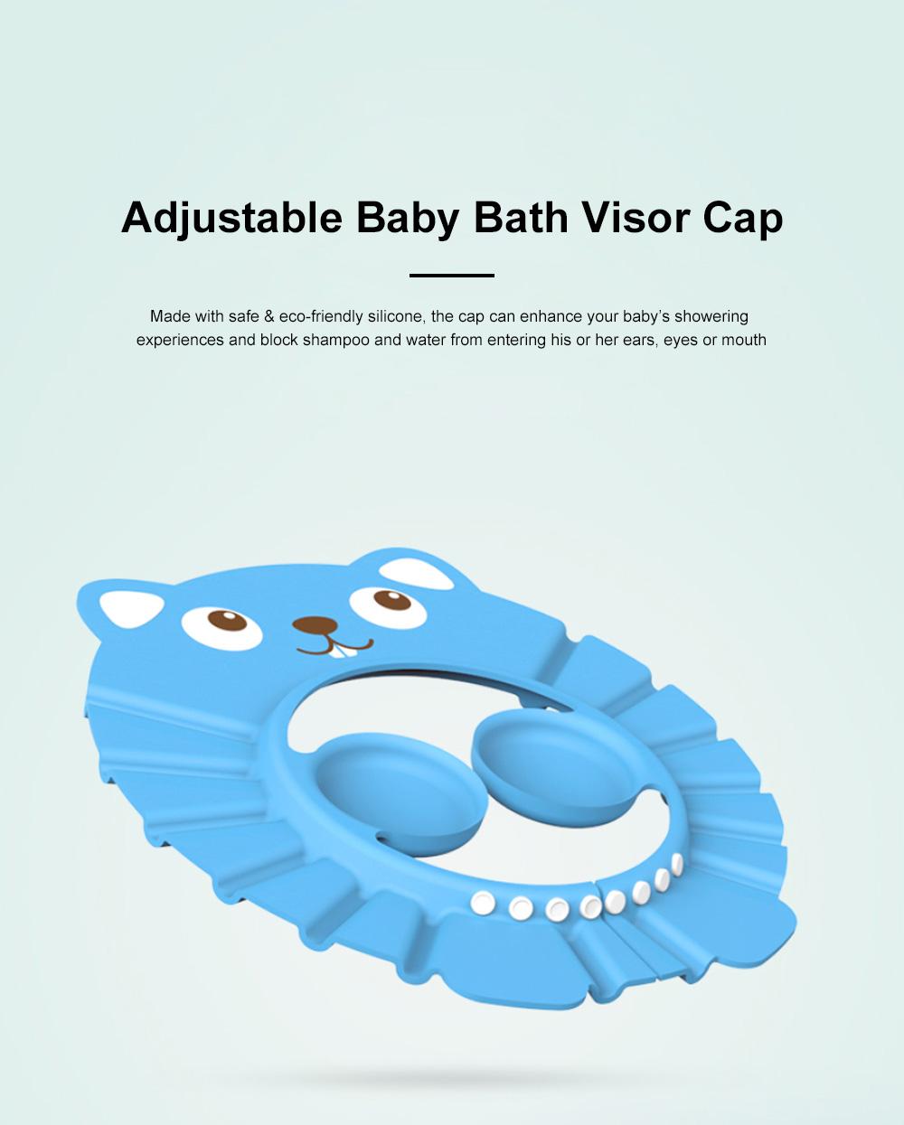 Adjustable Baby Bath Visor Cap Waterproof & Elastic Ring Hat for Shower, Bathtub, Sun Bathing, Hair Cutting 0