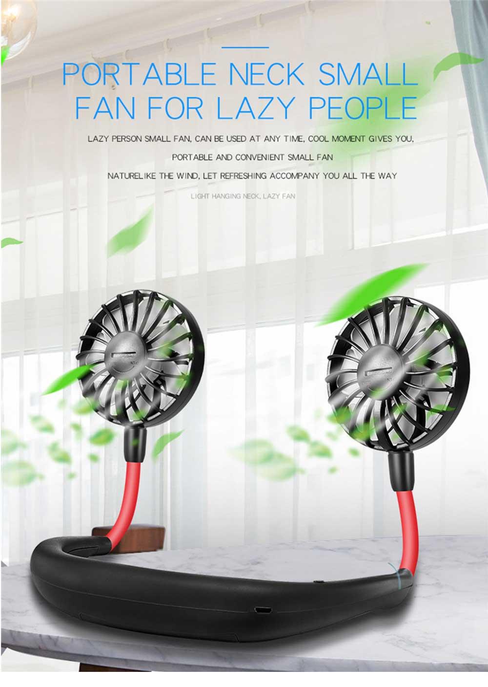 Mini Usb Neck Fan Neckband Small Desk Fan Handheld Wearable Rechargeable Air Cooling Fan 0