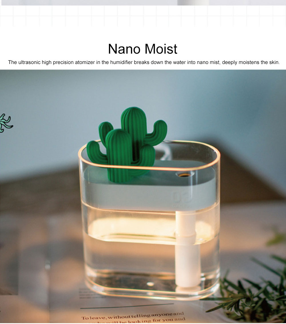 160ml Crystal Bionic Cactus Humidifier Mini Aromatherapy Sprayer Humidifiers Craft Ornament Best Gift 2